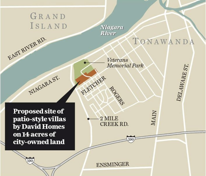 Map shows proposed site of patio-style villas by David Homes on 14 acres of city-owned land in Tonawanda