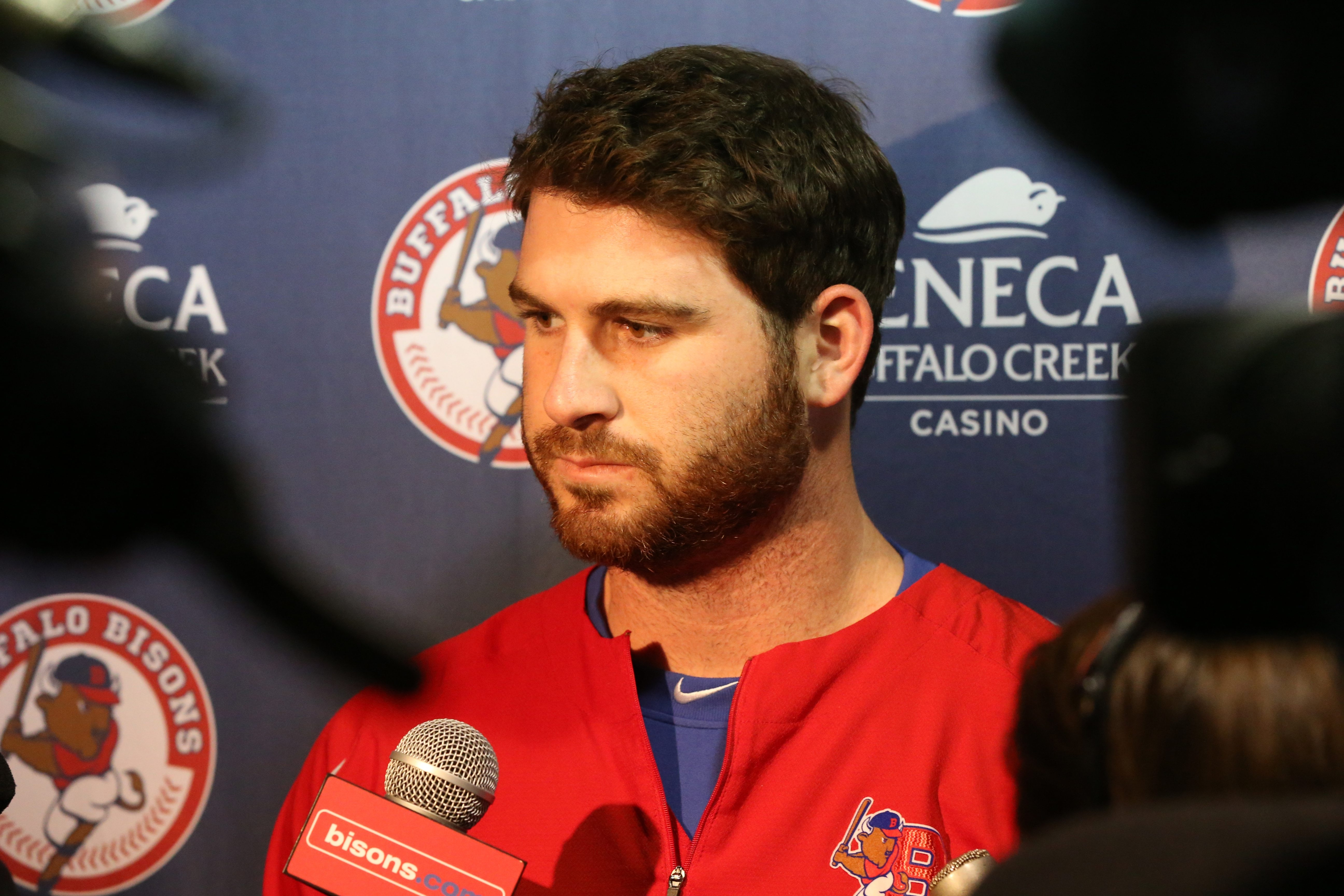 Buffalo Bison's opening day starting pitcher Drew Hutchison talks to the press at Coca-Cola Field in Buffalo,NY on Tuesday, April 5, 2016.  (James P. McCoy/ Buffalo News)