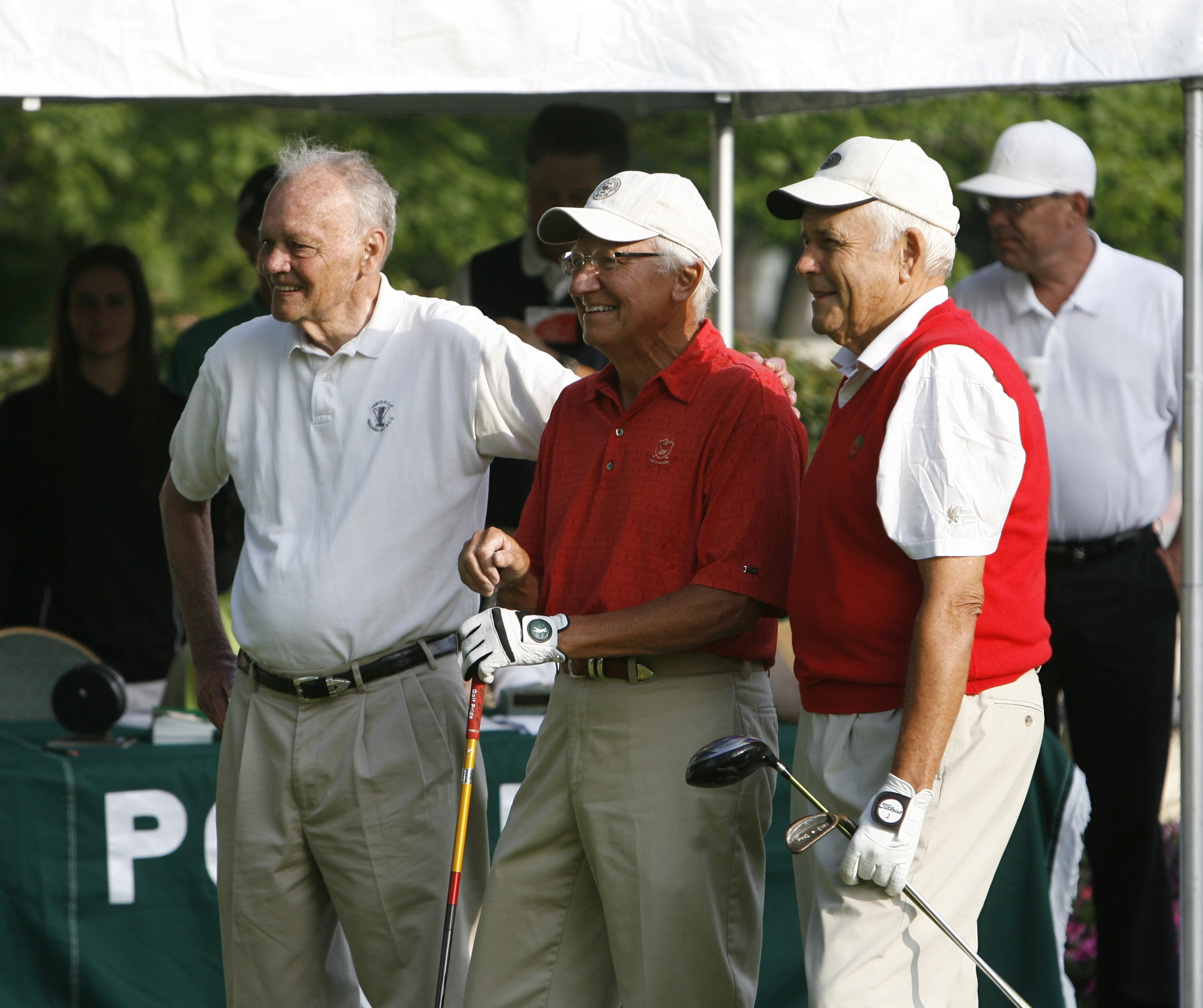 From left, Bill Ward, John Konsek and Ward Wettlaufer hit ceremonial tee shots at the 2008 Porter Cup at Niagara Falls Country Club.