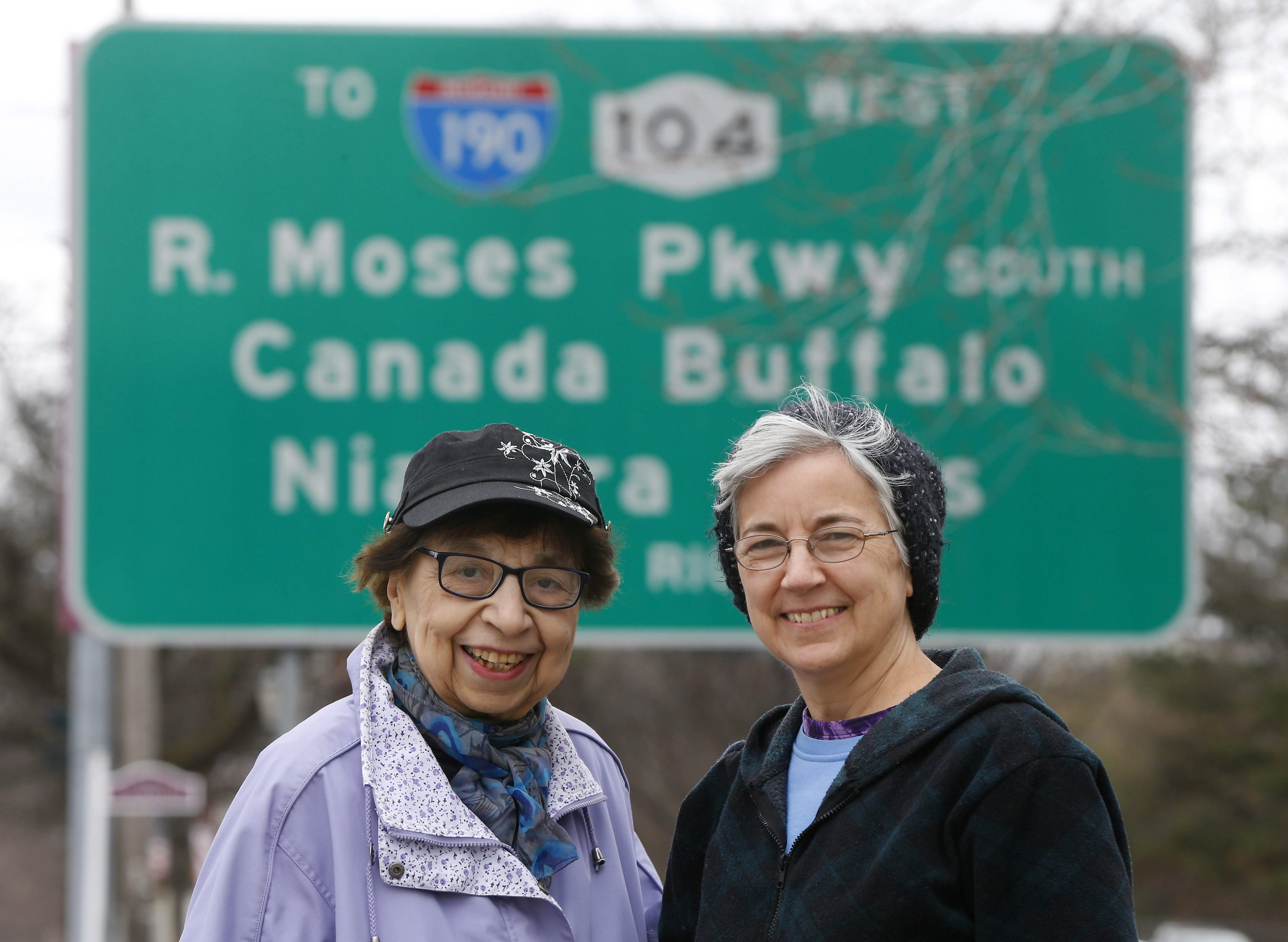 """Mamie Simonson, 87, and daughter Sarah Stokes express satisfaction that former Robert Moses Parkway will have new """"Niagara"""" character."""