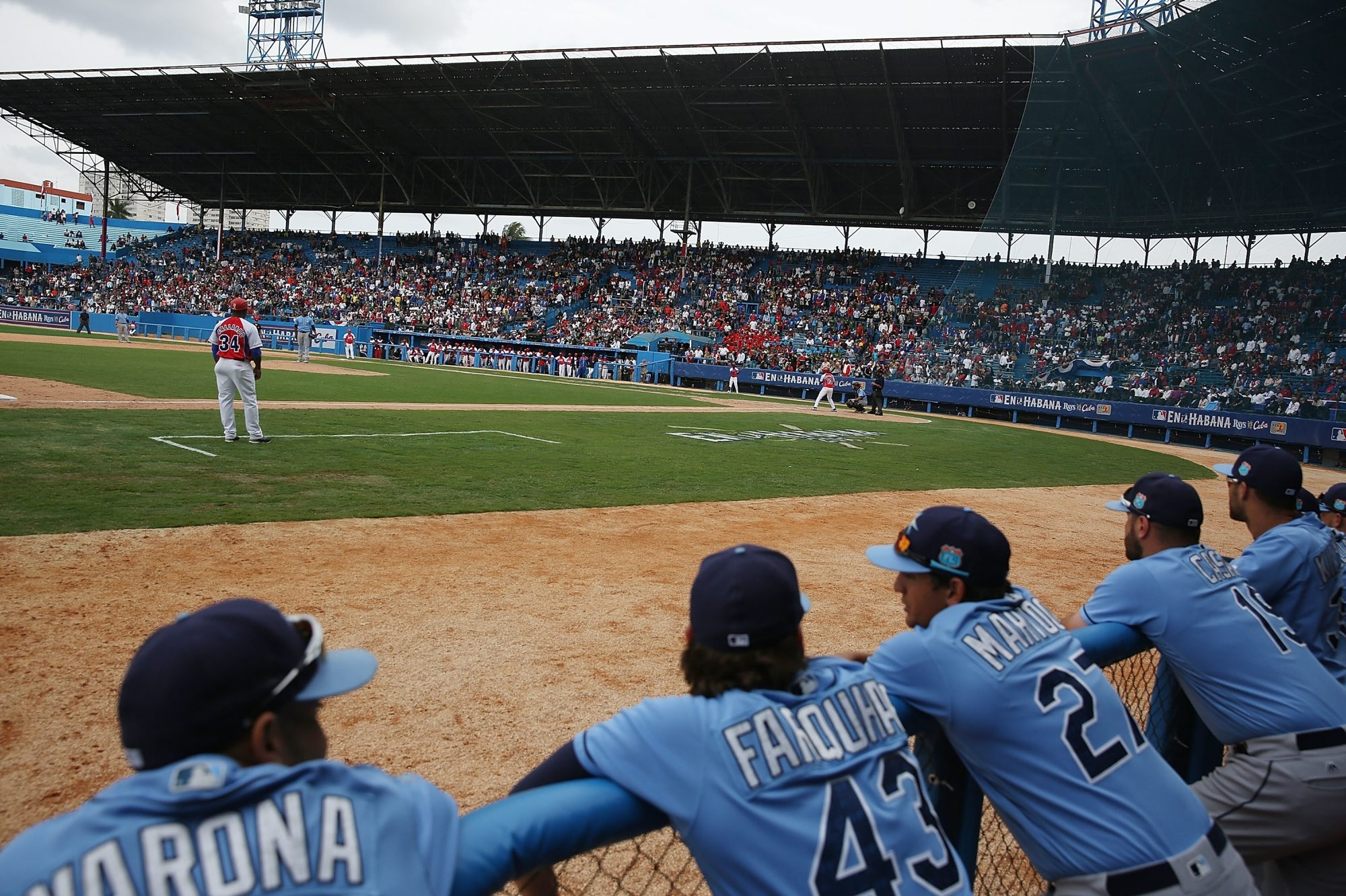 A March 22 exhibition game between the Tampa Bay Rays and the Cuban National team at the Estado Latinoamericano in Havana, Cuba was a step toward soothing relations between the philosophically divided countries. (Getty Images)