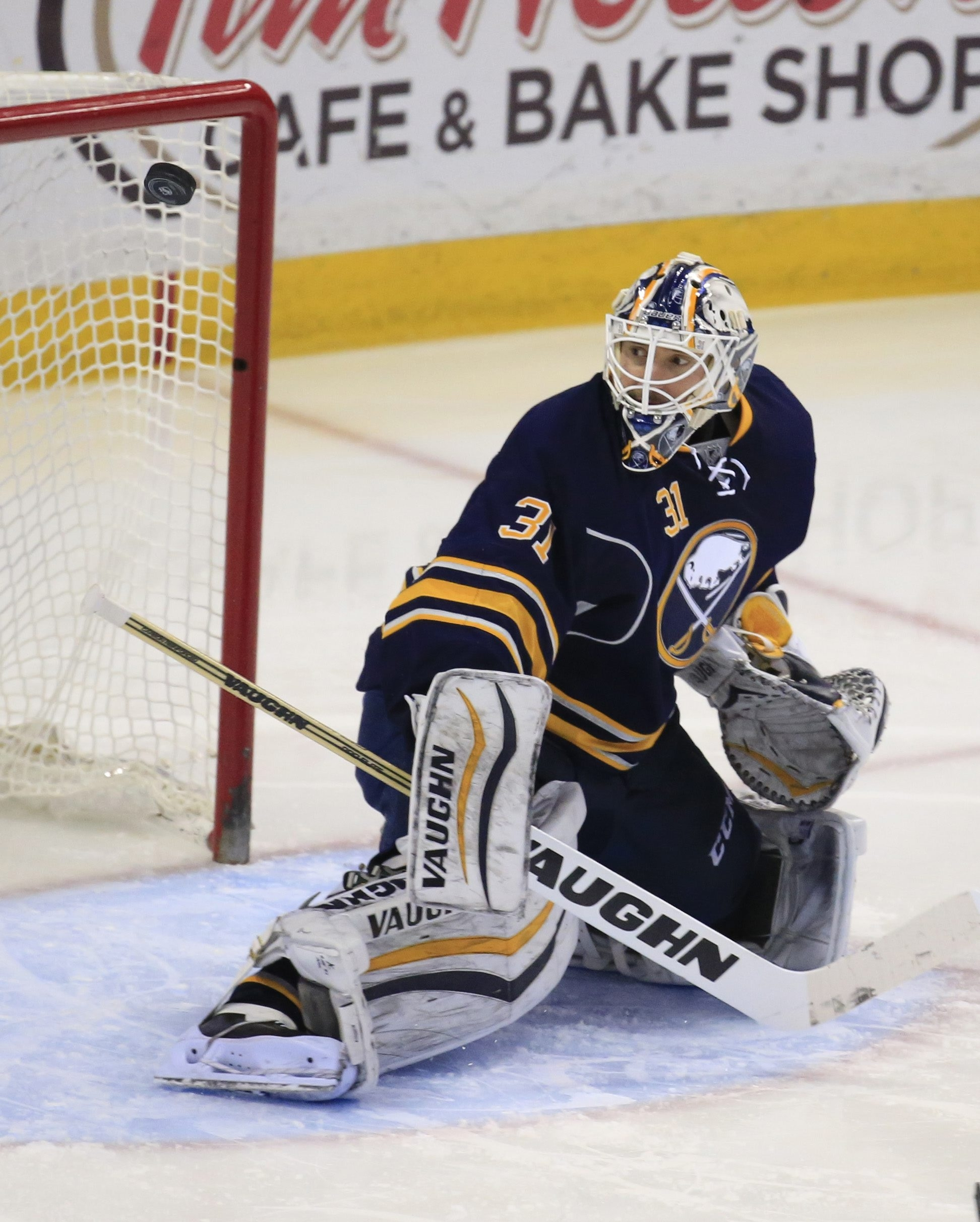 Chad Johnson makes a save during the Sabres' victory over Toronto, his career-best 20th win of the season.