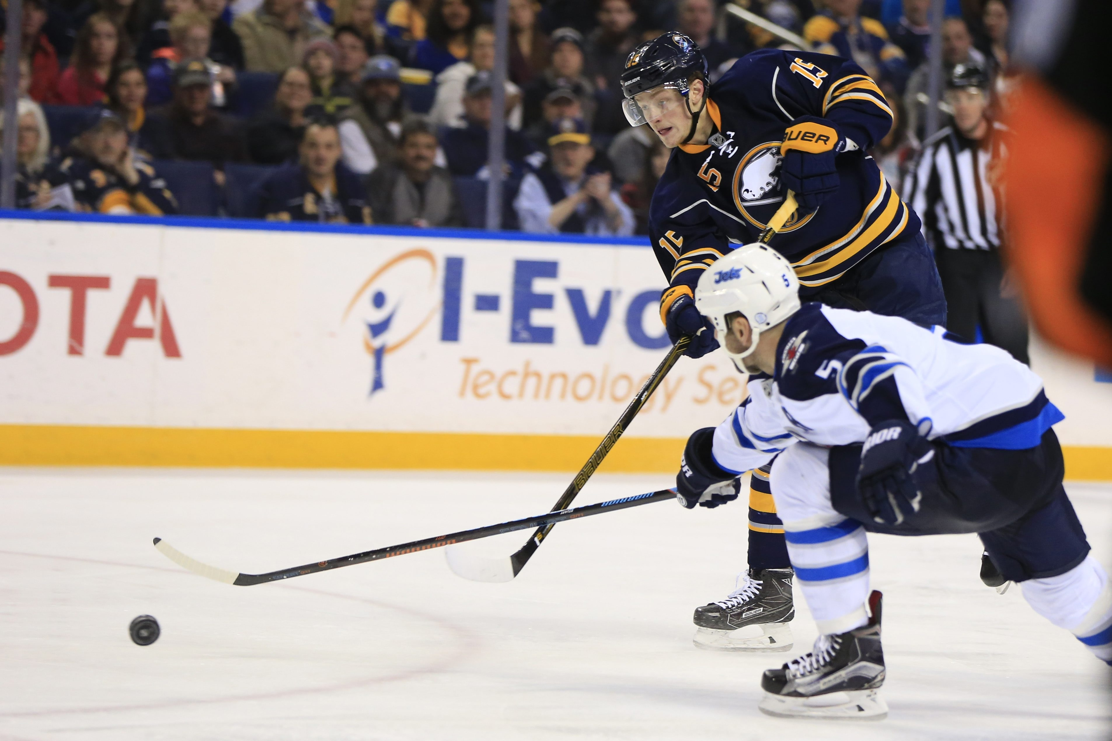 Buffalo Sabres Jack Eichel scores the game-winning goal against the Winnipeg Jets during third-period action at First Niagara Center on March 26, 2016.