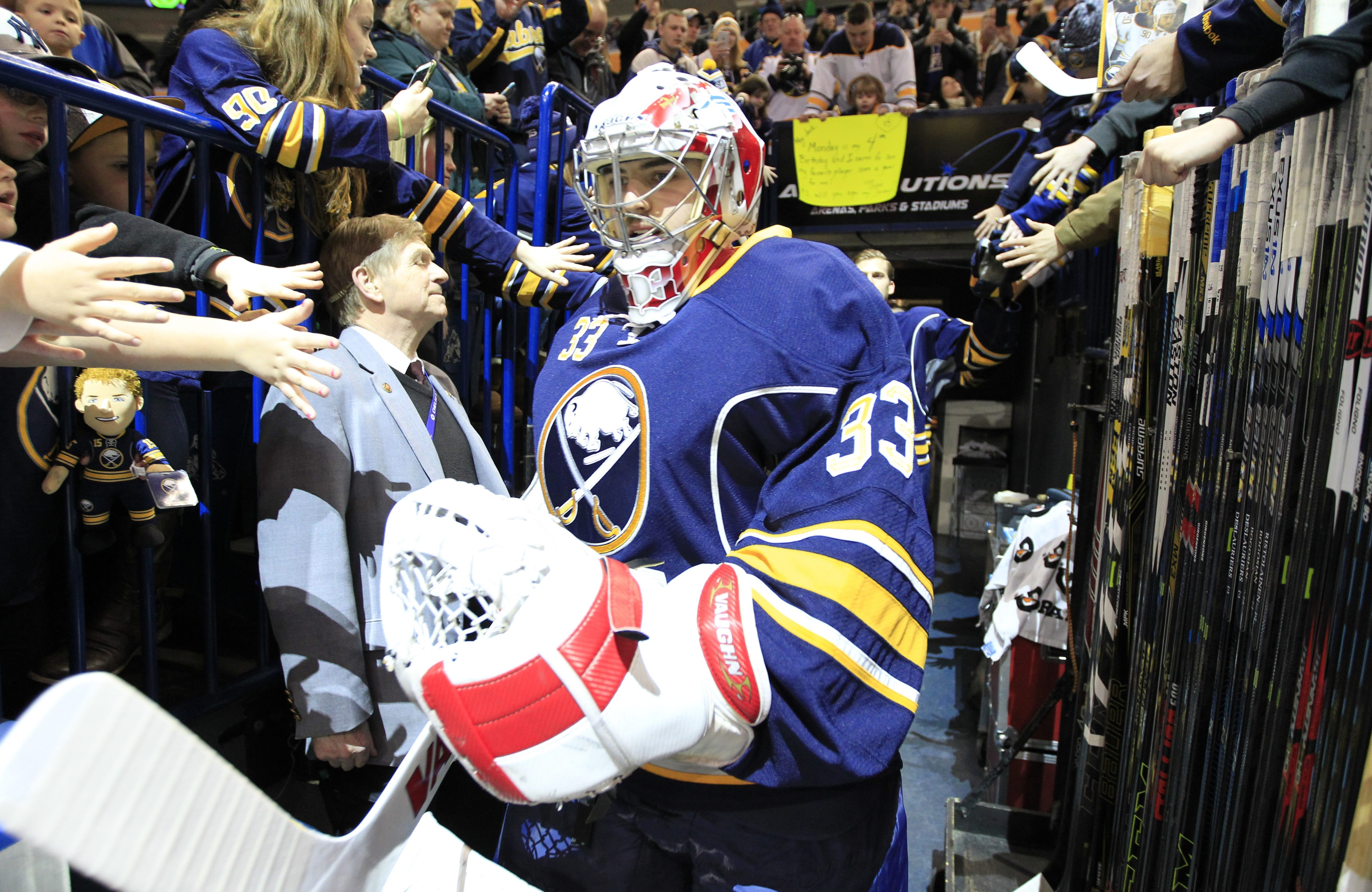 Jason Kasdorf was in goal for an NHL game for the first time when the Sabres played the Blue Jackets.