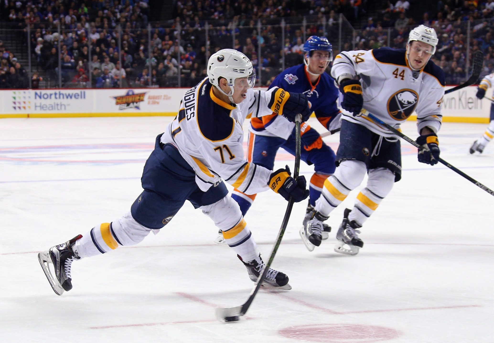 The Buffalo Sabres' Evan Rodrigues scores his first NHL goal during the second period against the New York Islanders at Barclays Center.