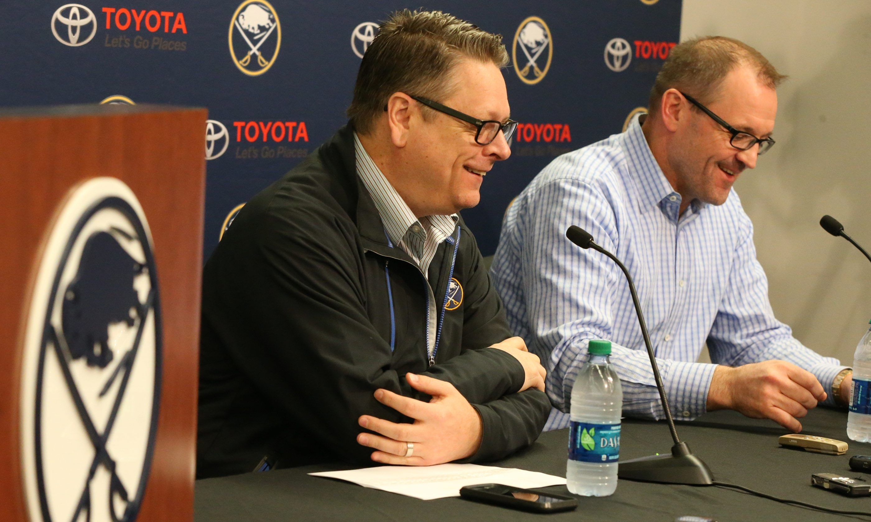 Tiim Murray, left, and Dan Bylsma address the media at the Sabres' season-ending news conference at First Niagara Center in Buffalo on Monday.