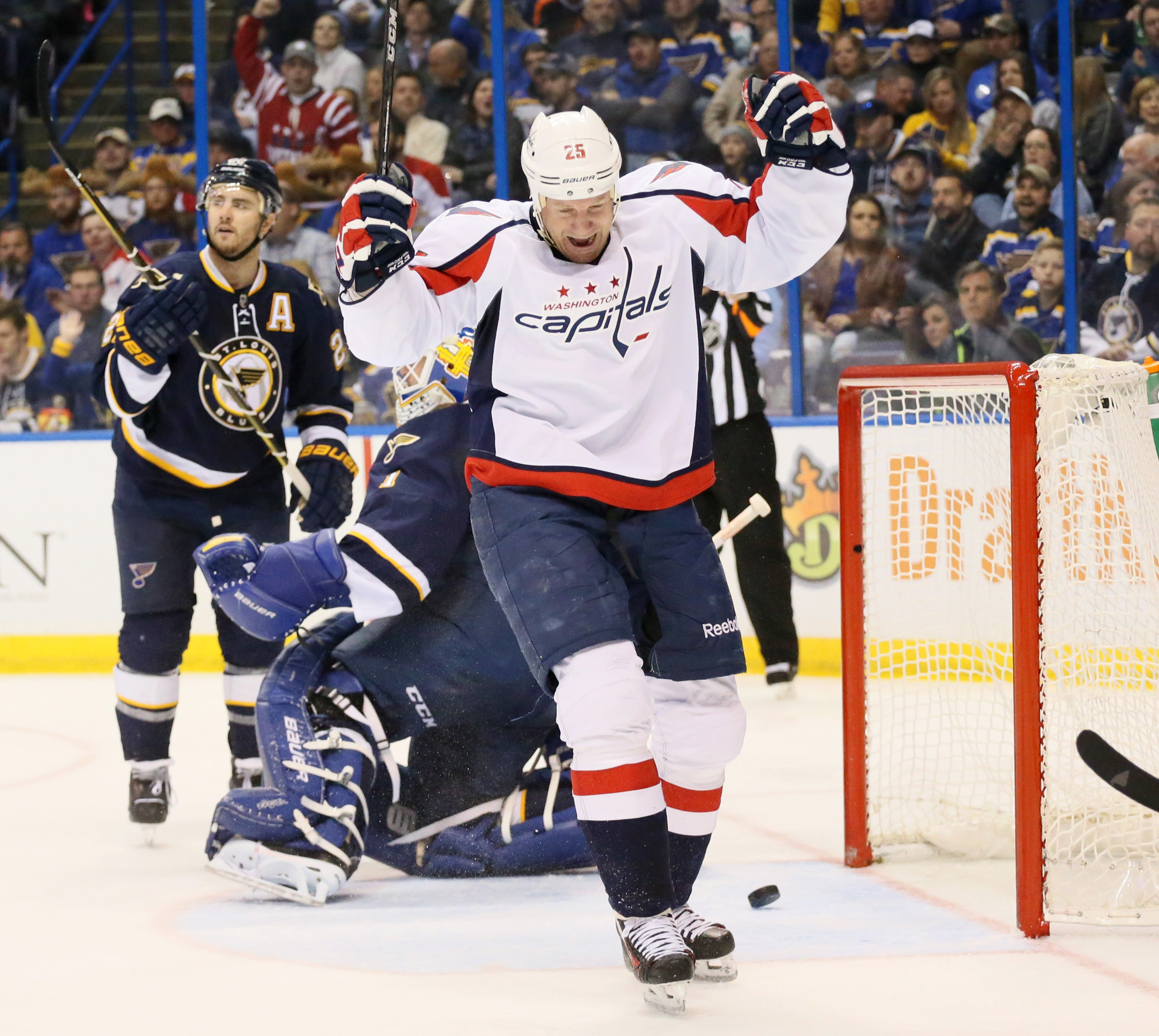 The Washington Capitals' Jason Chimera reacts after scoring past St. Louis Blues goaltender Brian Elliott in the second period on Saturday, April 9, 2016, at the Scottrade Center in St. Louis. The Caps won, 5-1. (Chris Lee/St. Louis Post-Dispatch/TNS)