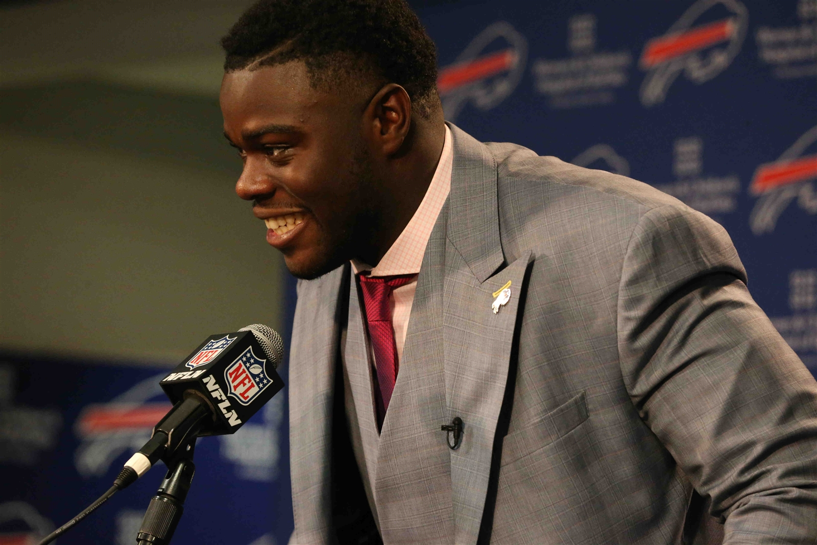 Bills first-round draft pick Shaq Lawson meets the media during his welcoming press conference. (James P. McCoy/Buffalo News)
