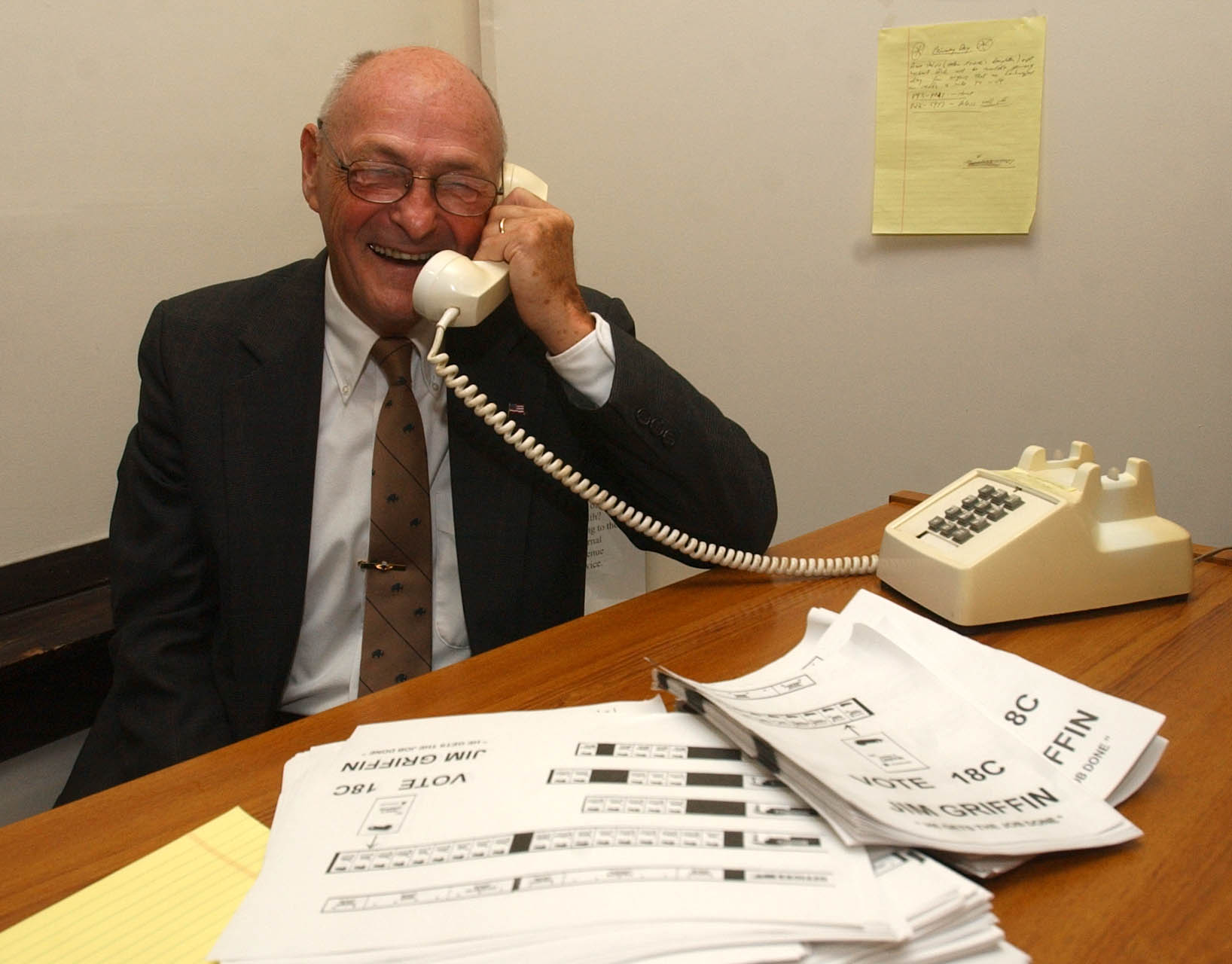 Former Buffalo Mayor Jimmy Griffin at his campaign headquarters after learning he defeated incumbent council member Mary Martino to win the primary election on 9/9/2003. Photo by Derek Gee