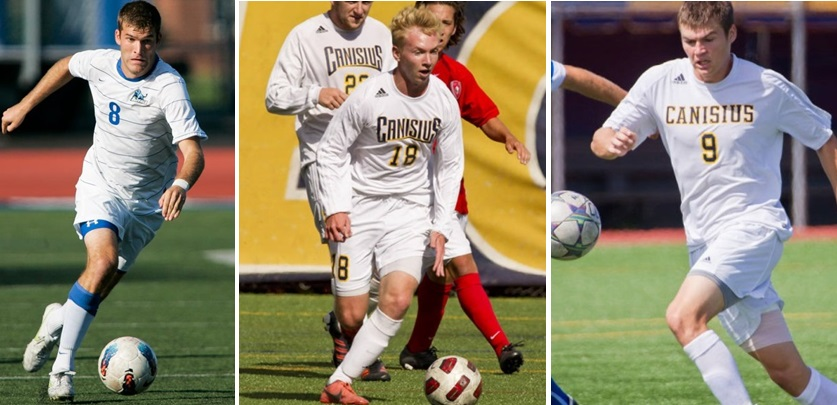 Andy Tiedt, Chris Berardi and Regan Steele are among the top players in the Buffalo District Soccer League's premier division. (via UB and Canisius Athletics)