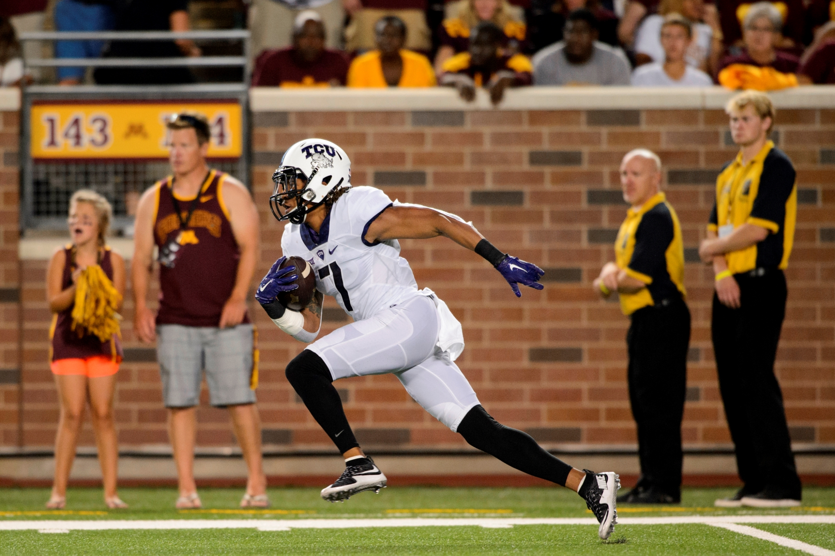 Super-fast wide receiver Kolby Listenbee strikes a track pose during a game with TCU. (Getty Images)