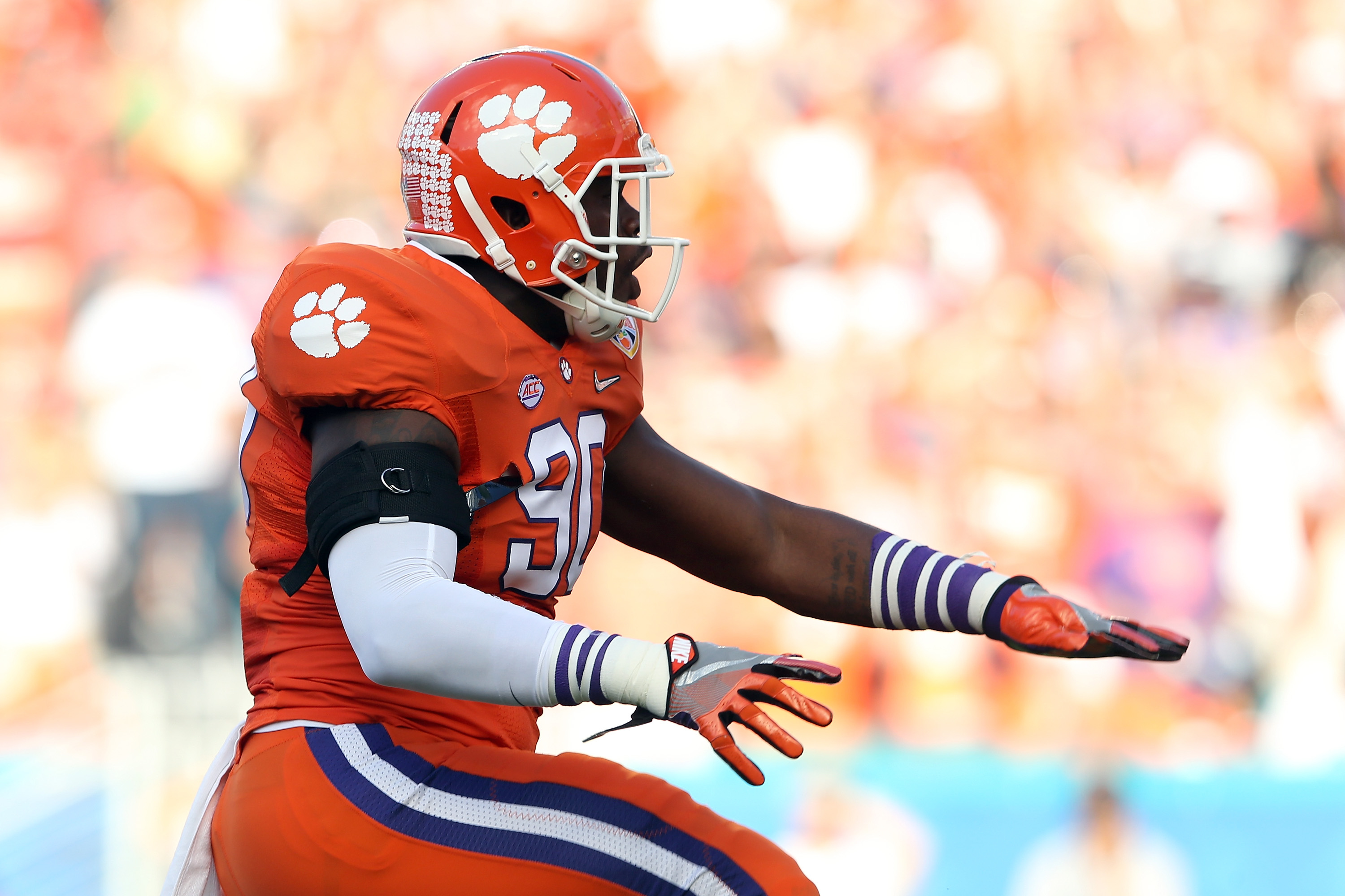 Shaq Lawson, of the Clemson Tigers, was named as a starter by Bills GM Doug Whaley. (Getty Images)
