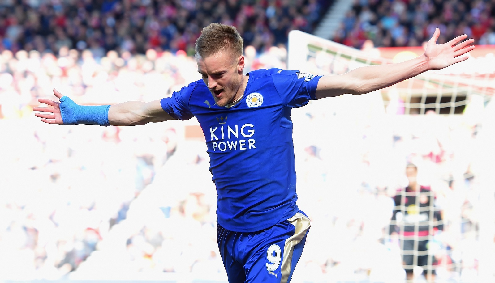 Jamie Vardy, who set the EPL record by scoring in 11 straight games, will be suspended for the match against Manchester United. (Getty Images)