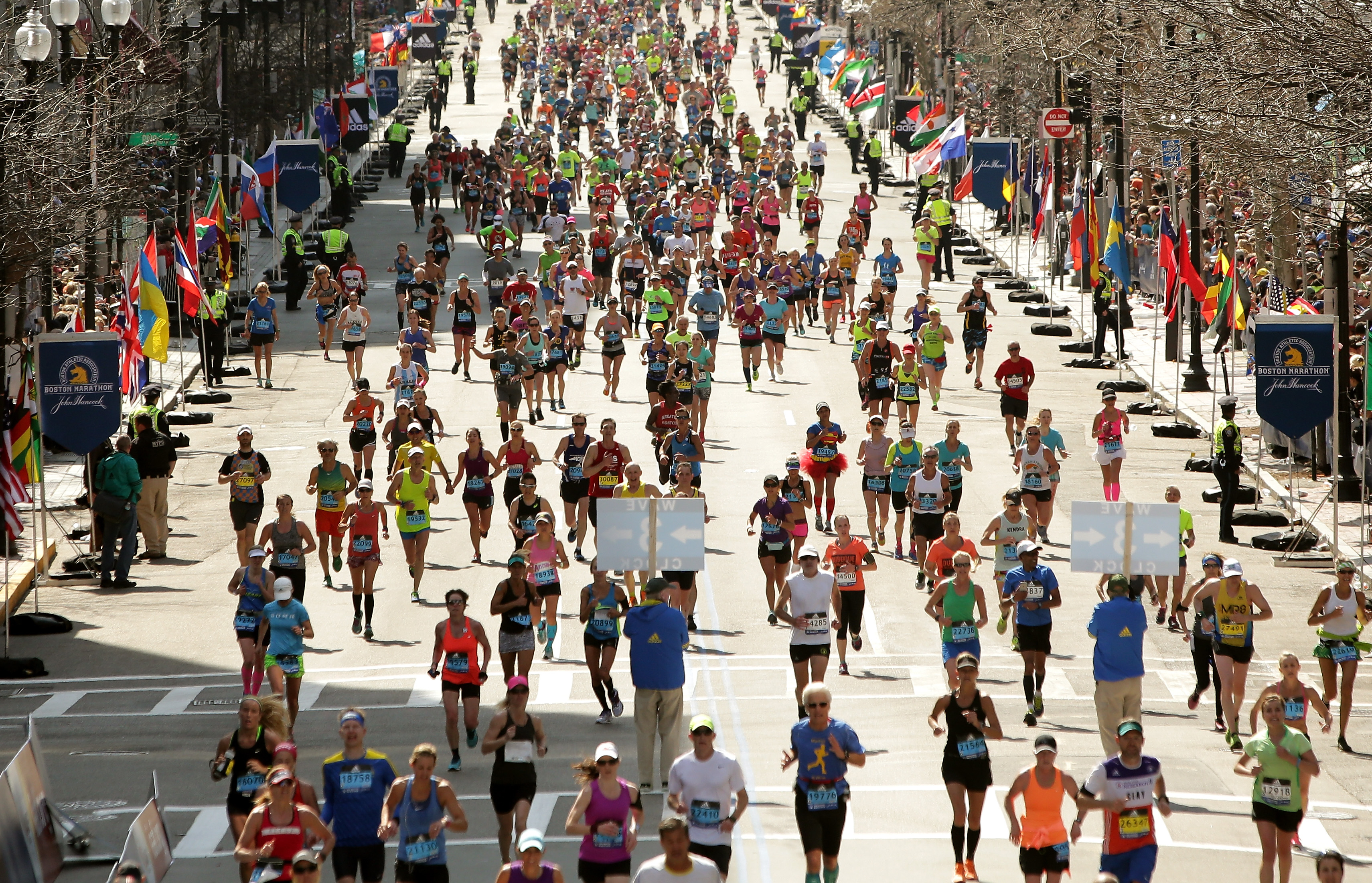 Runners near the finish line on Boylston Street during Monday's 120th Boston Marathon. (Getty Images)