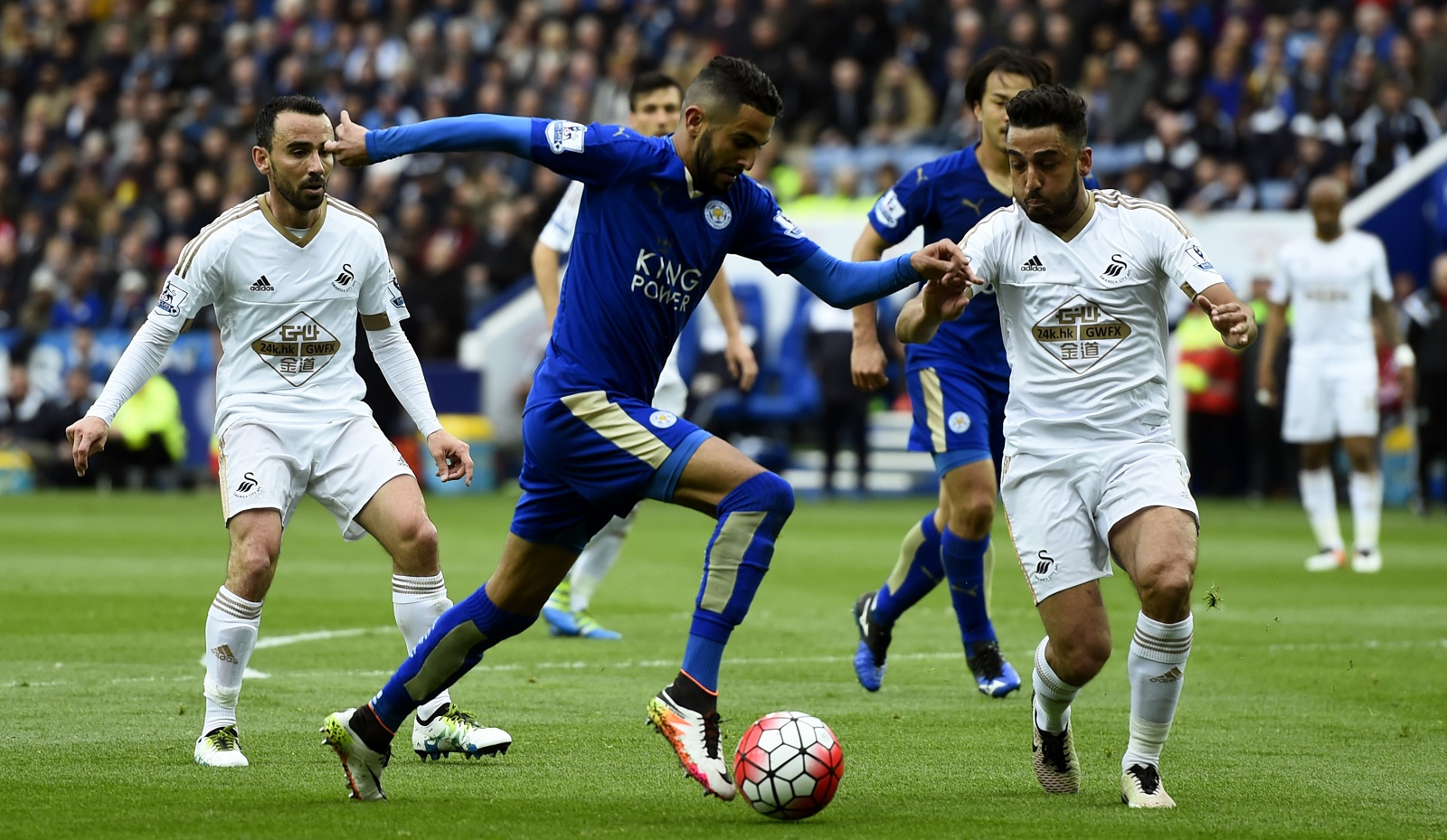 Riyad Mahrez, foreground in blue, won Pro Footballers' Association's Player of the Year for the English Premier League. (Getty Images)