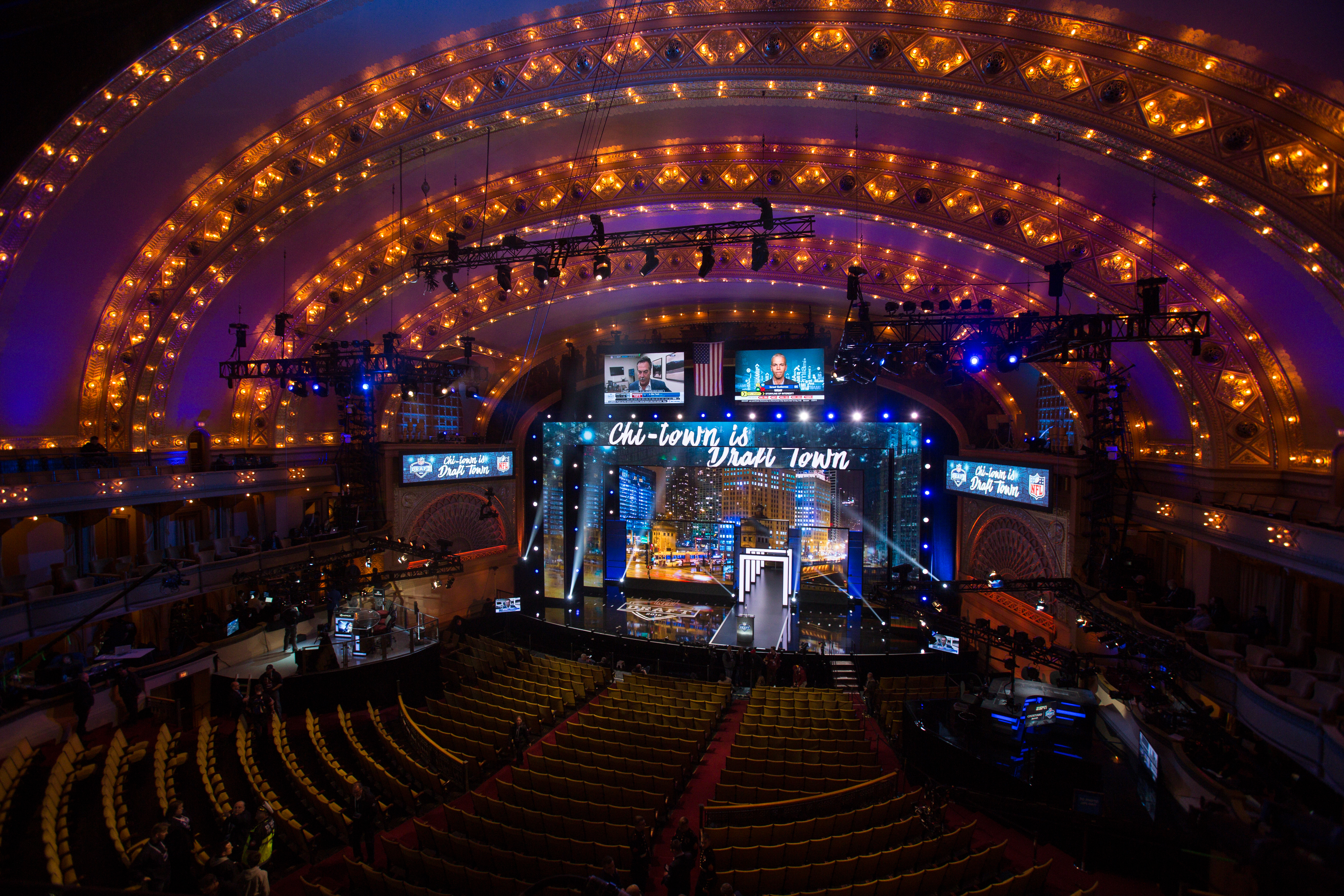 A view inside of Chicago's Roosevelt Auditorium Theatre prior to the start of the 2016 NFL Draft. (Getty Images)