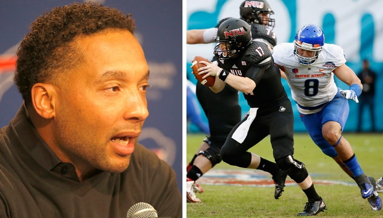 Bills GM Doug Whaley, left, will likely address the defensive side of the ball in the first round of the NFL Draft. Kamalei Correa, a defensive end from Boise State, far right, is an option. (Buffalo News file photo/Getty Images)