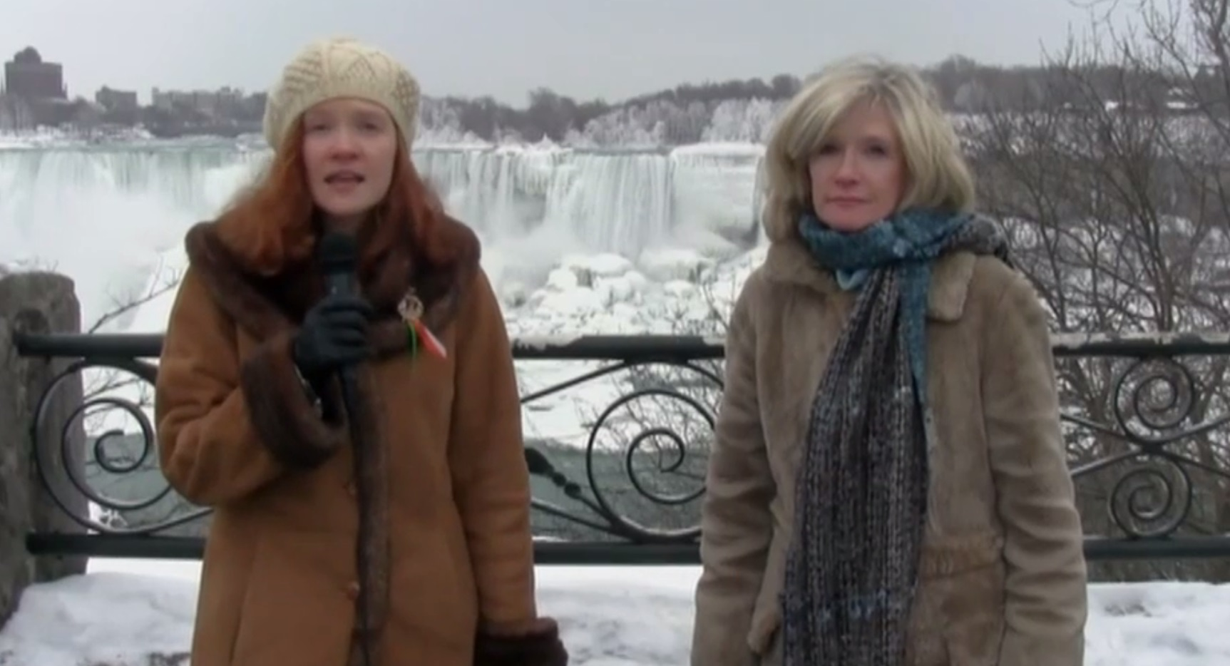 Bridget Carroll Hager, left, and her mother, Ellen Carroll, at Niagara Falls. (video screenshot)