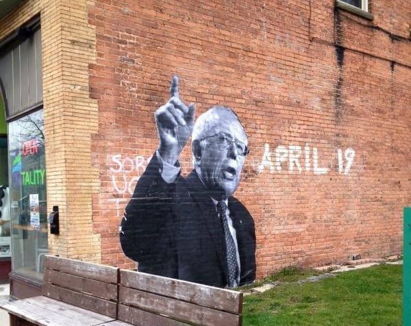 A mural featuring Democratic presidential candidate Bernie Sanders adorns the side of Yotality, at 715 Elmwood Ave. Photo via facebook.com/BuffaloForBernieSanders
