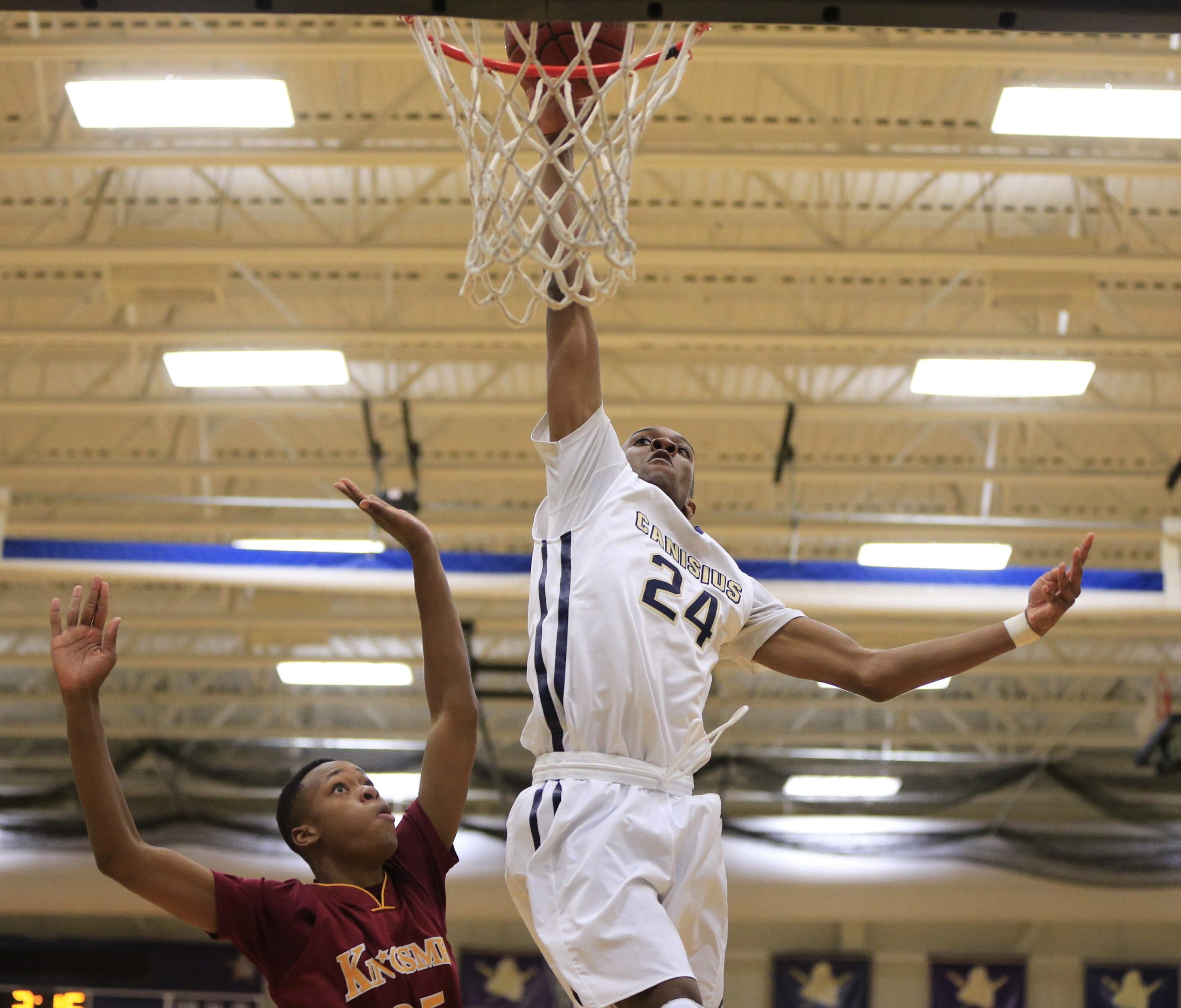 Canisius' Stafford Trueheart averaged a double-double for the season, and is the second Crusader in as many seasons to earn state Player of the Year honors.  (Harry Scull Jr./Buffalo News)