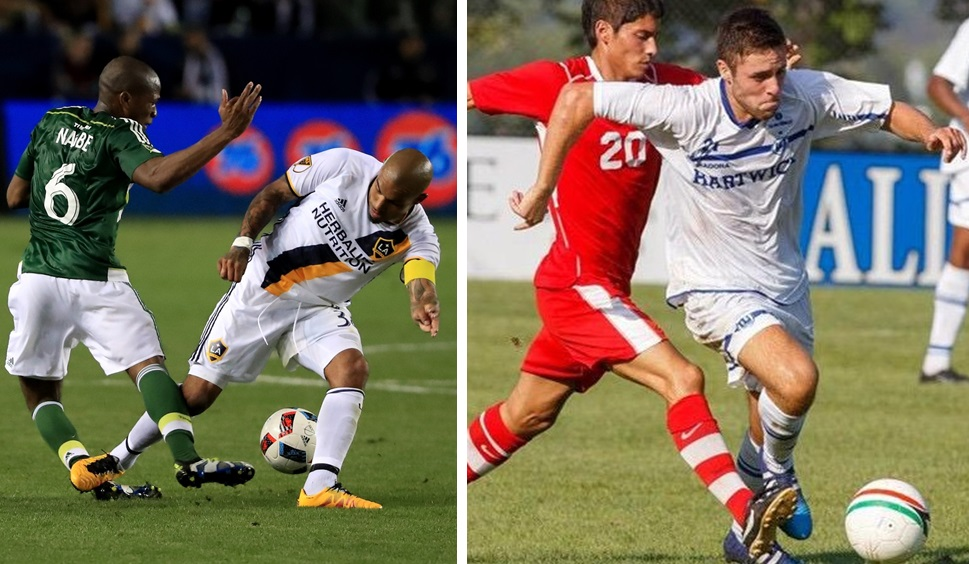 Nigel de Jong's tackle on Darlington Nagbe, left, is a topic of discussion, while Jack Donaldson, far right, joins the show as a guest. (Getty Images/Hartwick Soccer)