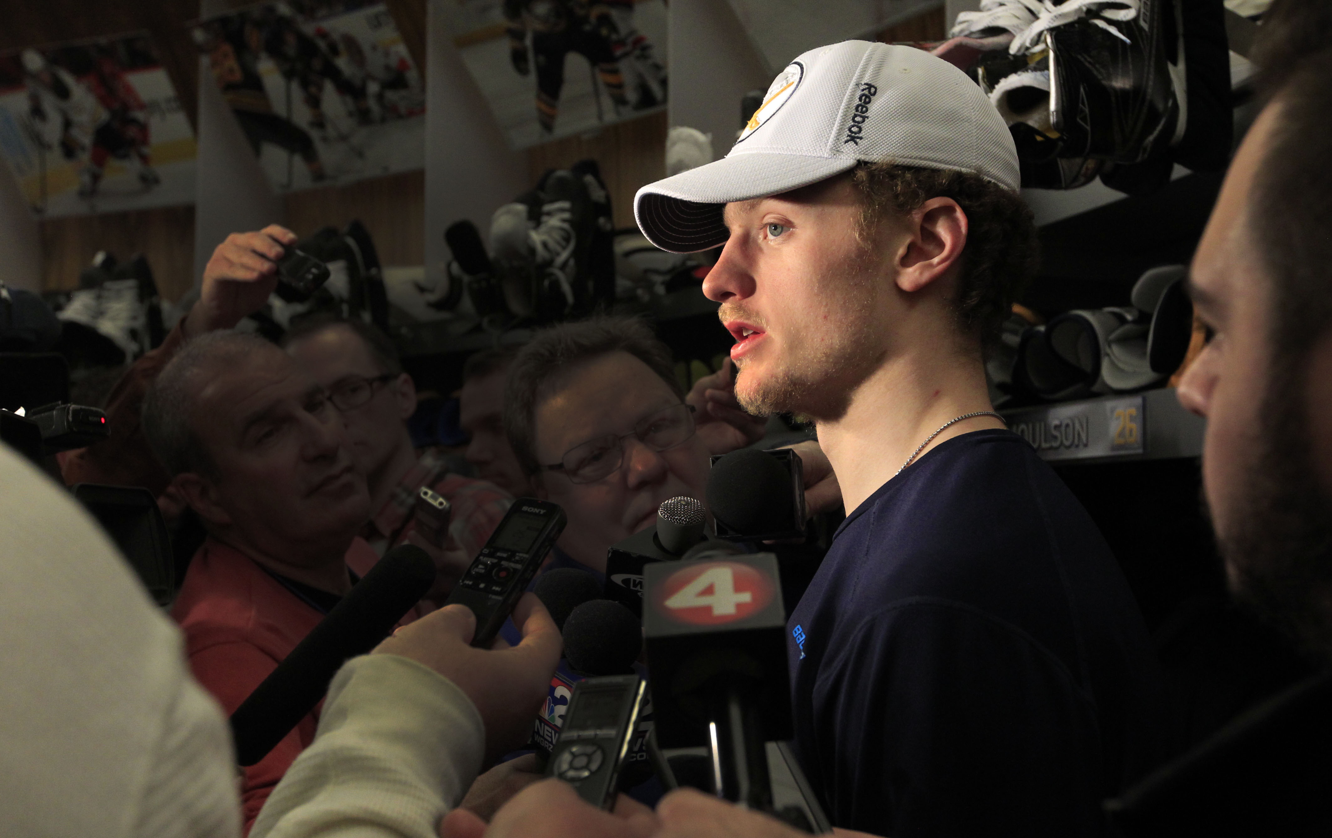 Jack Eichel meets with the media Sunday in First Niagara Center. (Harry Scull Jr./Buffalo News)