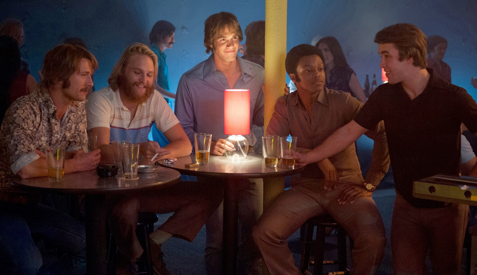 From left to right: Glen Powell plays Finnegan, Wyatt Russell plays Willoughby, Blake Jenner plays Jake, James Quinton Johnson plays Dale Douglas and Temple Baker plays Plummer in 'Everybody Wants Some.' (Van Redin, Paramount Pictures)