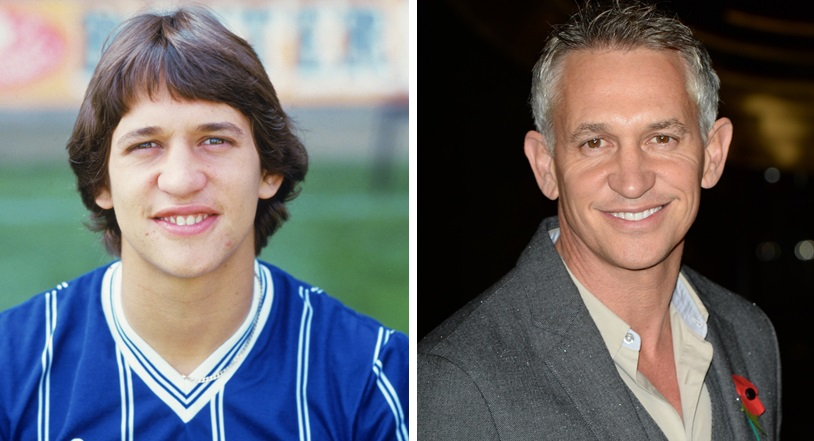Gary Lineker as a player for Leicester City FC, left, and then recently as a celebrity in Leicester. (Photo by Zak Hussein/Getty Images)