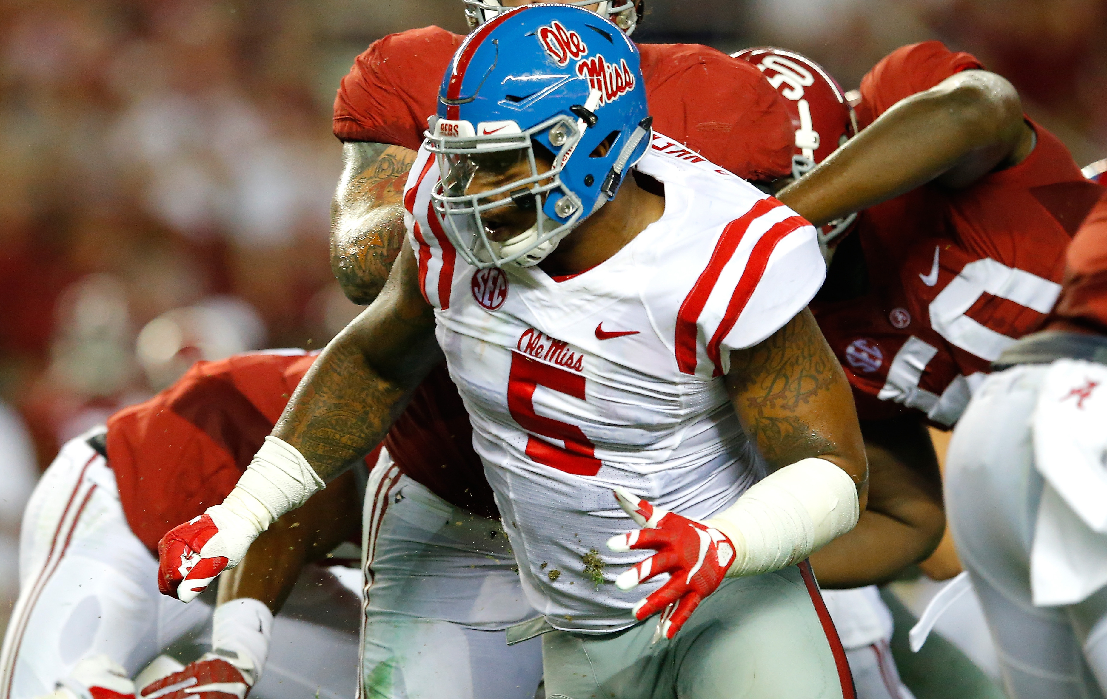 TUSCALOOSA, AL - SEPTEMBER 19:  Robert Nkemdiche #5 of the Mississippi Rebels in action against Alabama Crimson Tide at Bryant-Denny Stadium on September 19, 2015 in Tuscaloosa, Alabama.  (Photo by Kevin C. Cox/Getty Images)