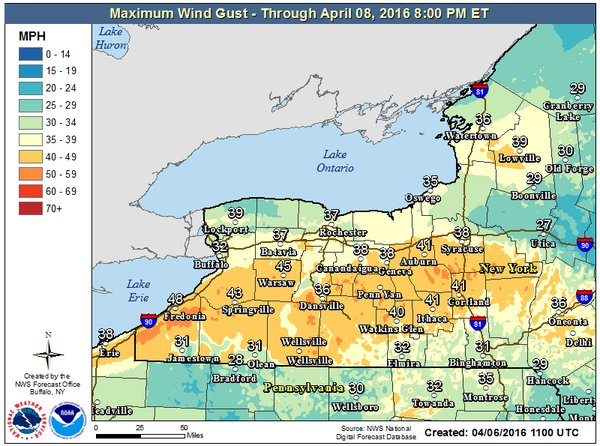 Gusts of up to 50 mph are predicted for some areas through early Thursday morning. (National Weather Service)