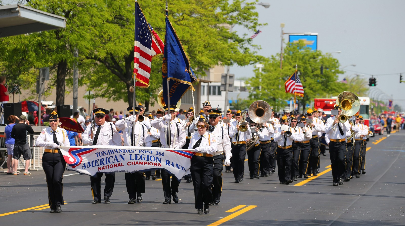 The American Legion Band of the Tonawandas Post 264 march during the Memorial Day parade in Kenmore in 2015. (Mark Mulville/Buffalo News file photo)