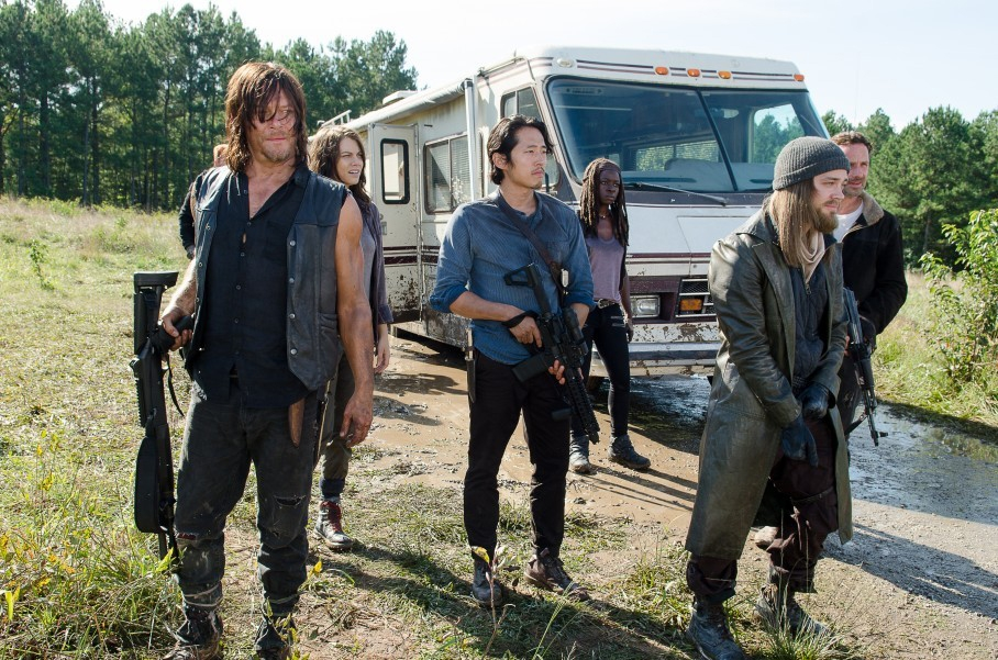 "From left, Norman Reedus, Lauren Cohan, Steven Yeun, Danai Gurira, Tom Payne and Andrew Lincoln on AMC's ""The Walking Dead."""