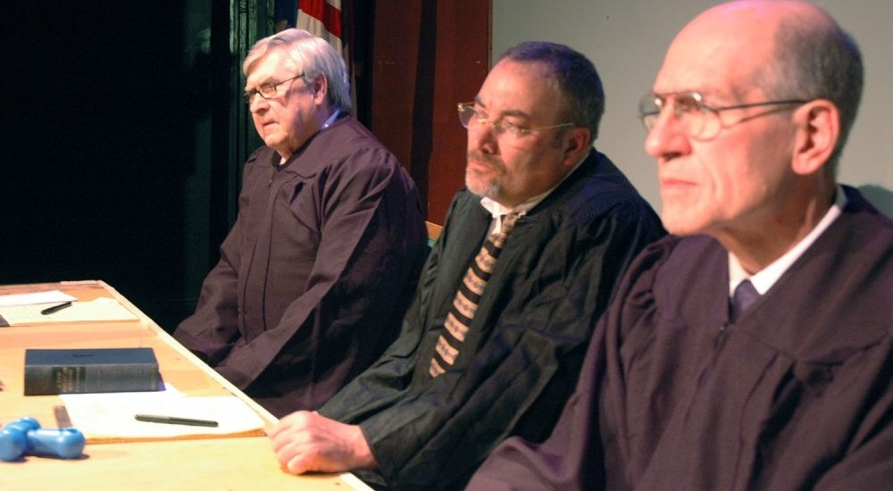 "Jesse Abel, left, David Mitchell and Jack Agugliaro star in ""Judgment in Nuremberg,"" a collaboration between New Phoenix Theatre and Subversive Theatre."