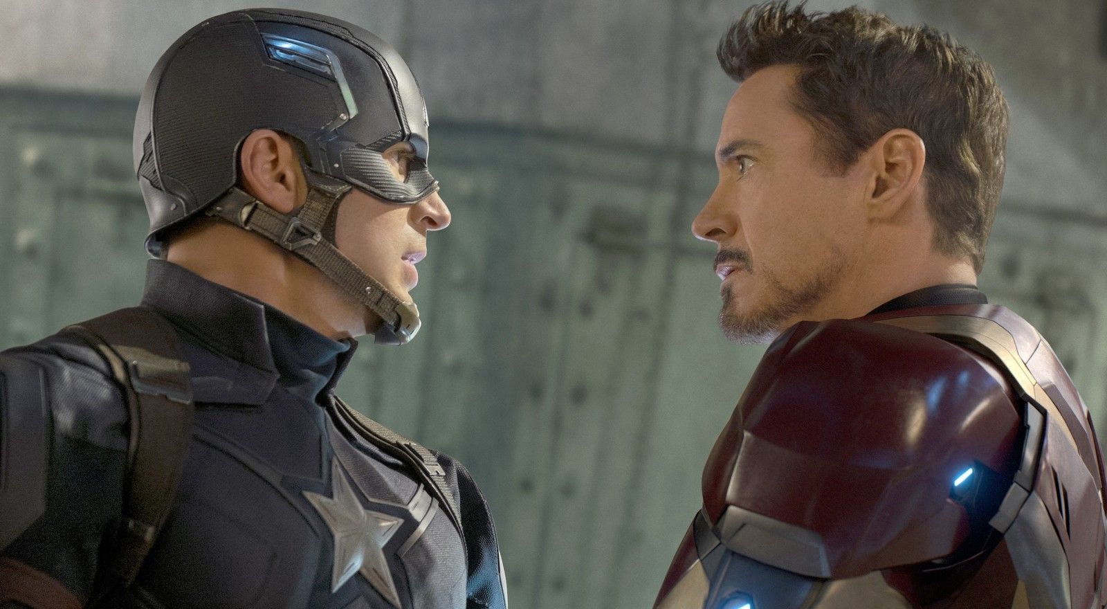 "Chris Evans, left, is Captain America and Robert Downey Jr. is Tony Stark/Iron Man in ""Captain America: Civil War."""