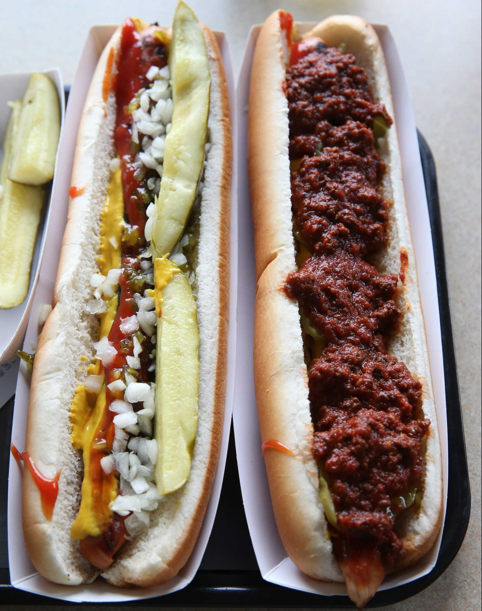 Two of the foot-long hot dog offerings from Ted's Hot Dogs on Sheridan Drive. (Sharon Cantillon/Buffalo News)