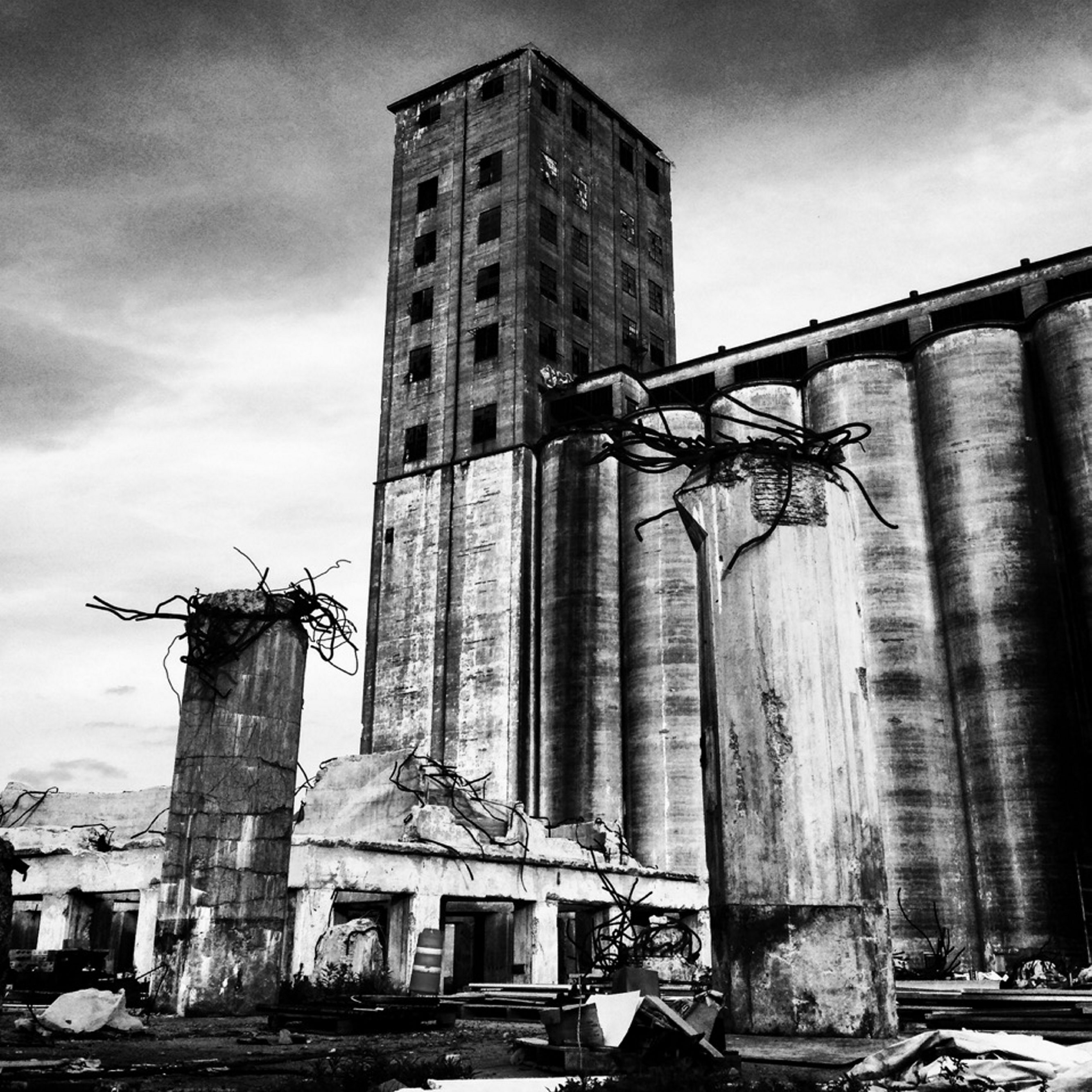 """""""Blood and Iron,"""" a photograph of a Buffalo grain elevator by Erin Morris, is on view in the phone booth-sized art gallery in Hydraulic Hearth through July 31."""