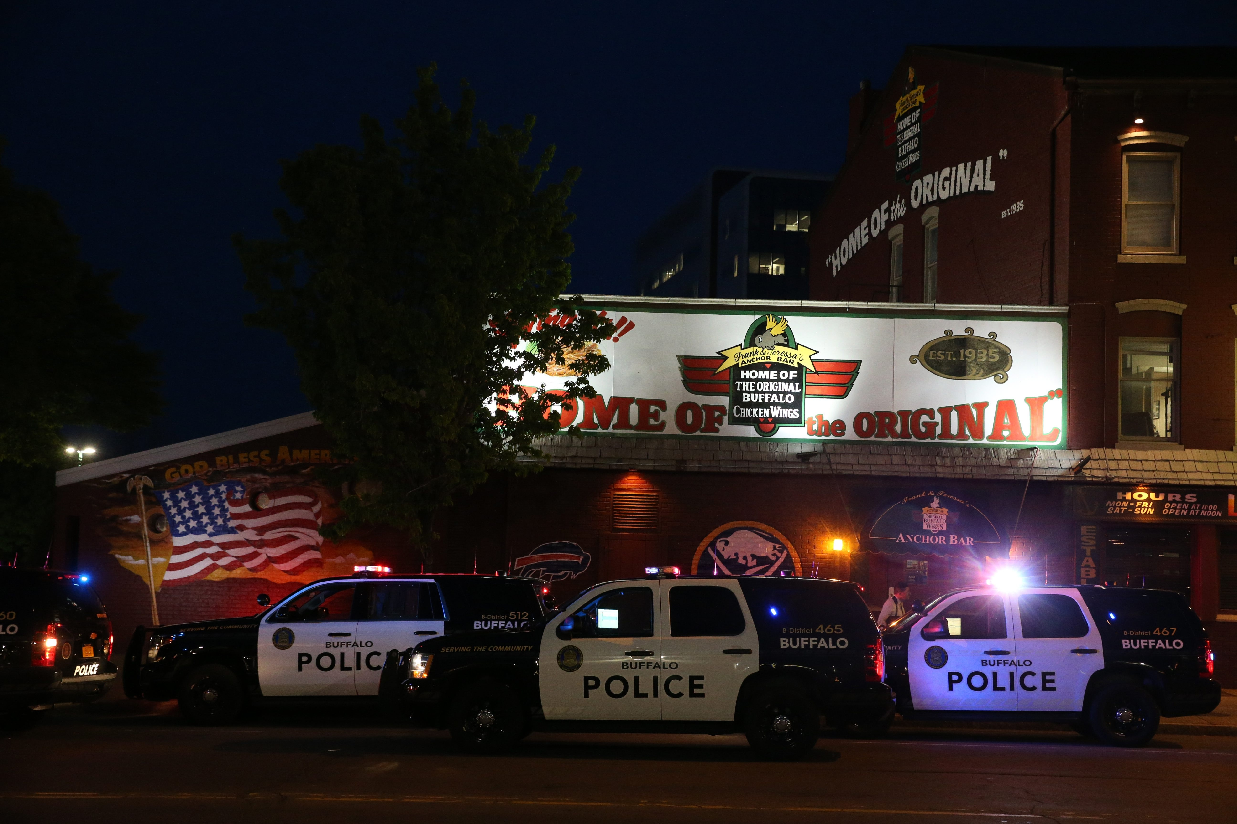 Police investigate a muder that took place inside the Anchor Bar on Main street in Buffalo, NY on Friday,May 20, 2016.  (James P. McCoy/ Buffalo News)