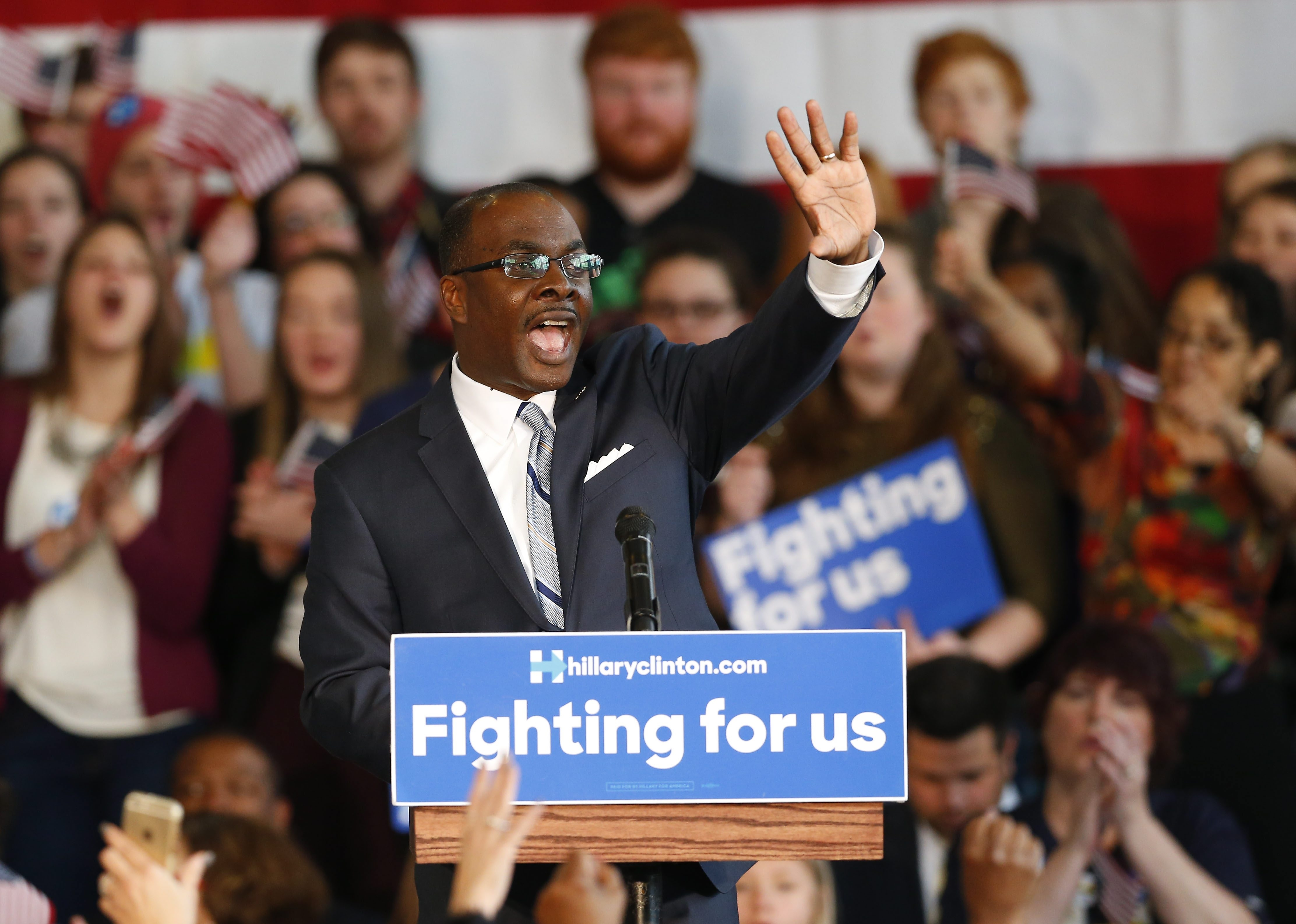 Buffalo Mayor Byron W. Brown, shown at an April rally for Hillary Clinton, is poised to be officially in- stalled as New York State's Democratic chairman.