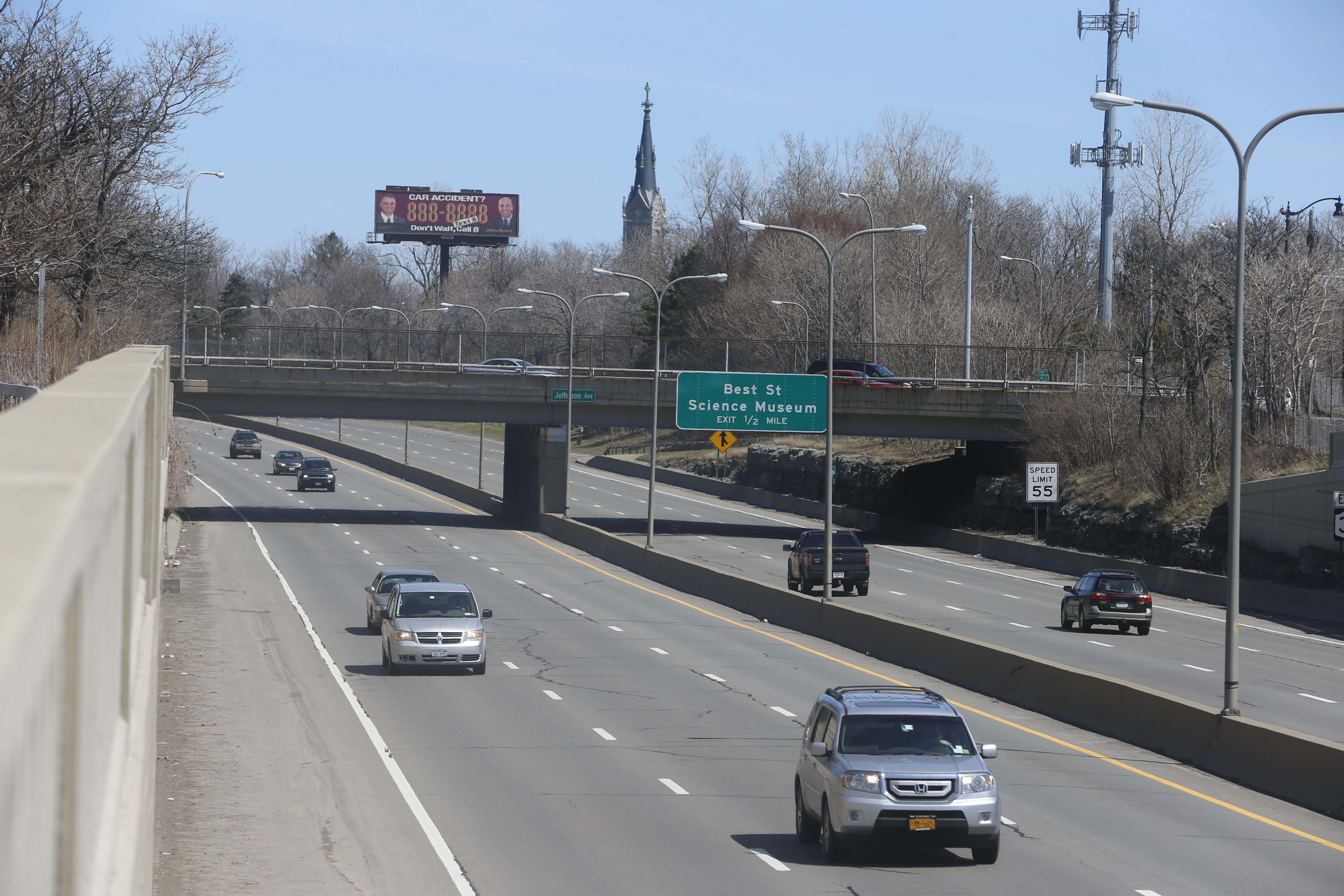 A state Department of Transportation 2012 study examined decking Route 33 from East Ferry to Best streets, with the goal of returning the once expansive Humboldt Parkway designed by Frederick Law Olmsted to green space.
