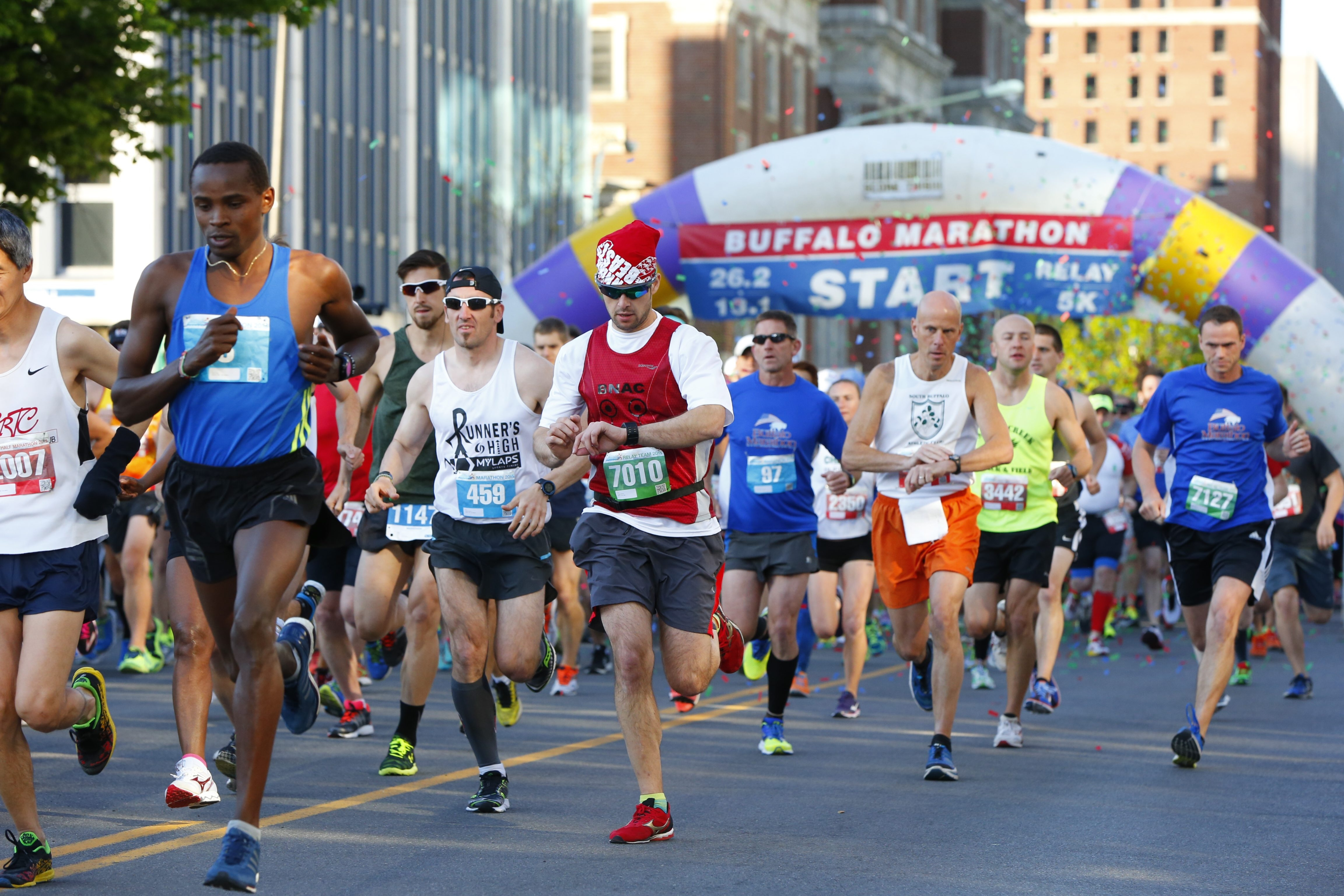 Runners participate in last year's Buffalo Marathon on May 24, 2015.