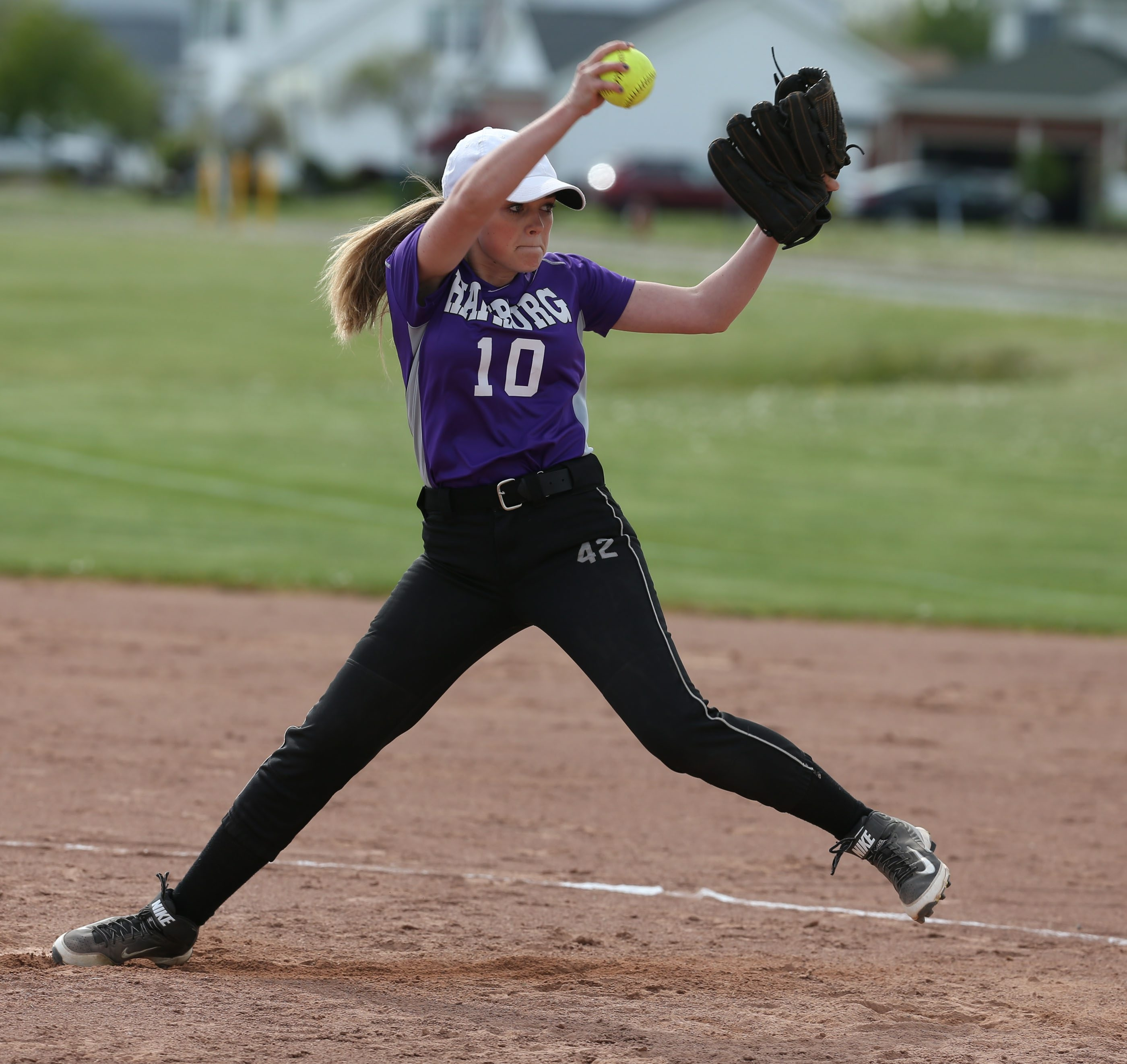 2 lie ncut Hamburg's Haley Antalek pitches in the second inning against Grand Island at Veterans Park in Grand Island, NY on Friday,May 20, 2016.  ()