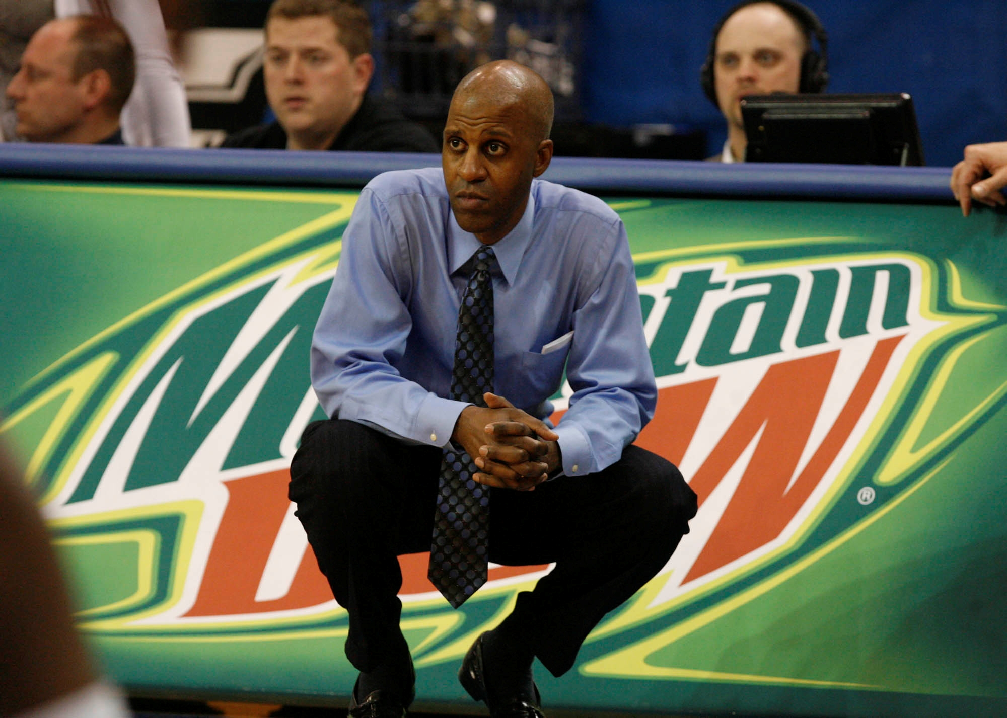 SPORTS UB men's basketball  -- UB's head coach  Reggie Witherspoon looks on in game against Bowling Green  in 2nd half action at Alumni Arena  in Amherst, N.Y. on Wednesday   February 18, 2009. UB lost 48- 59  Bowling Green final. (Photo by John Hickey /The Buffalo News)
