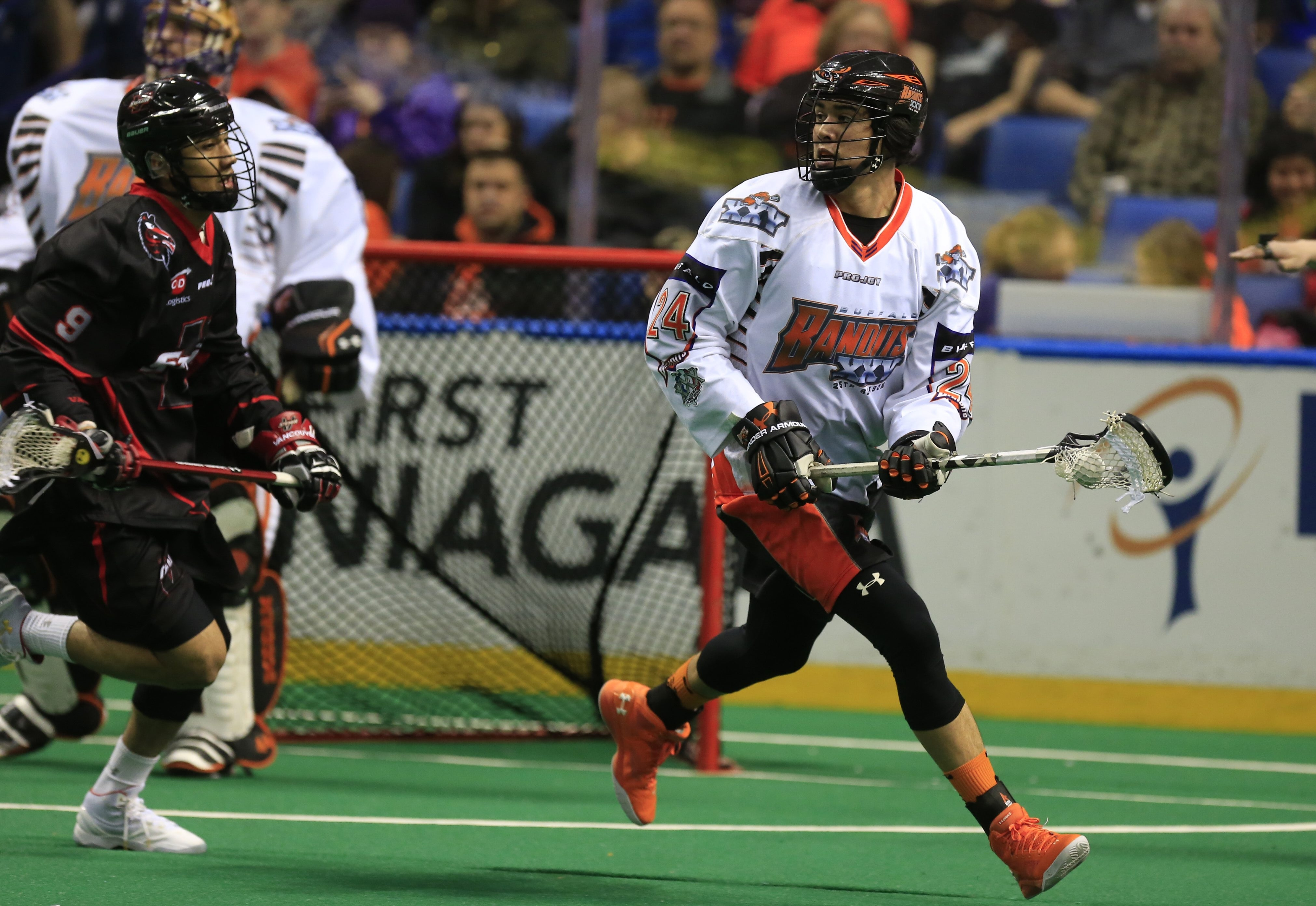 Mitch Jones decided the regular-season meeting between the Bandits and the Rush with an overtime goal.(Harry Scull Jr./Buffalo News)