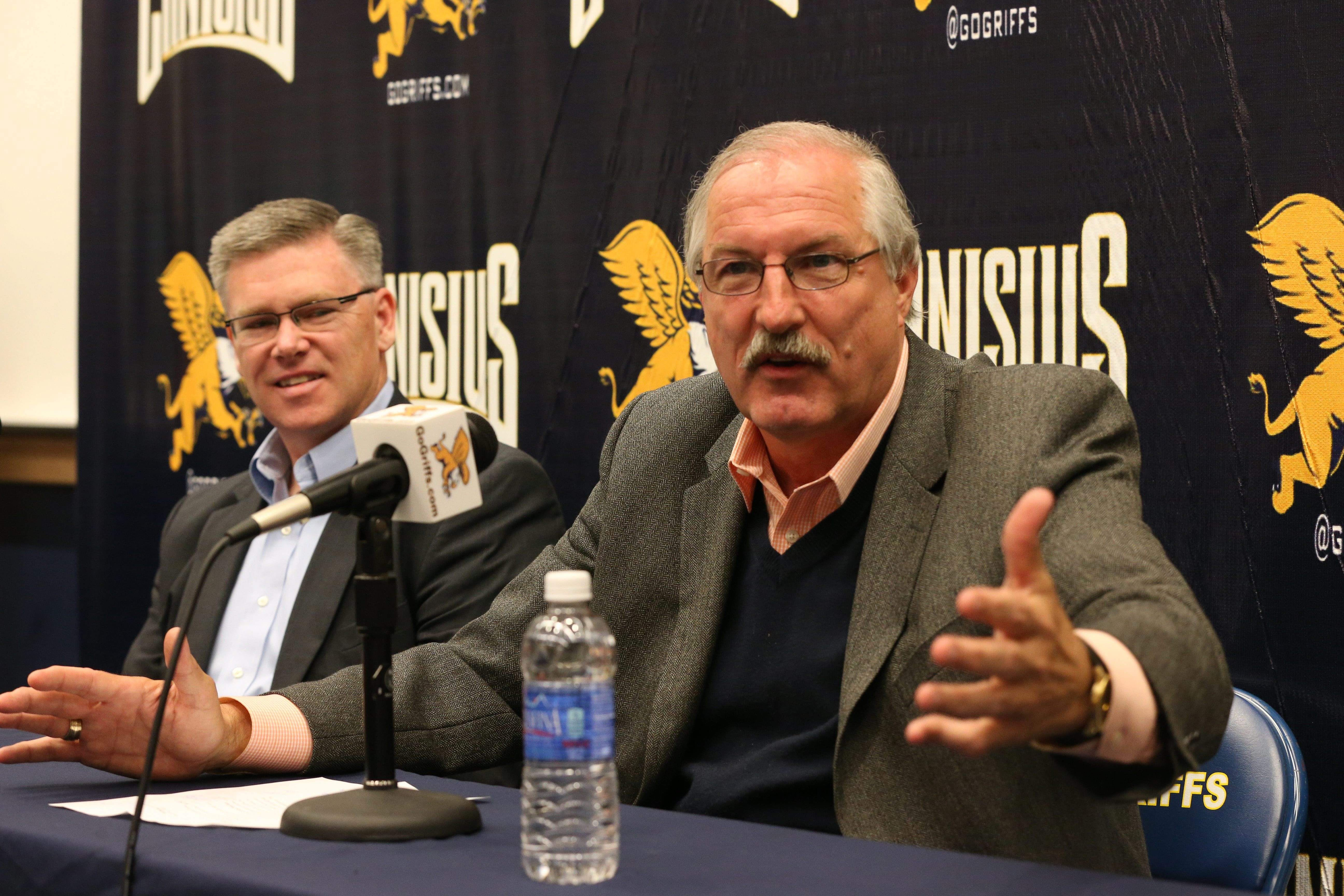 Athletic Director Bill Maher, left, brought Jim Baron to Canisius to restore the program's luster. In four seasons, Baron went 73-61.