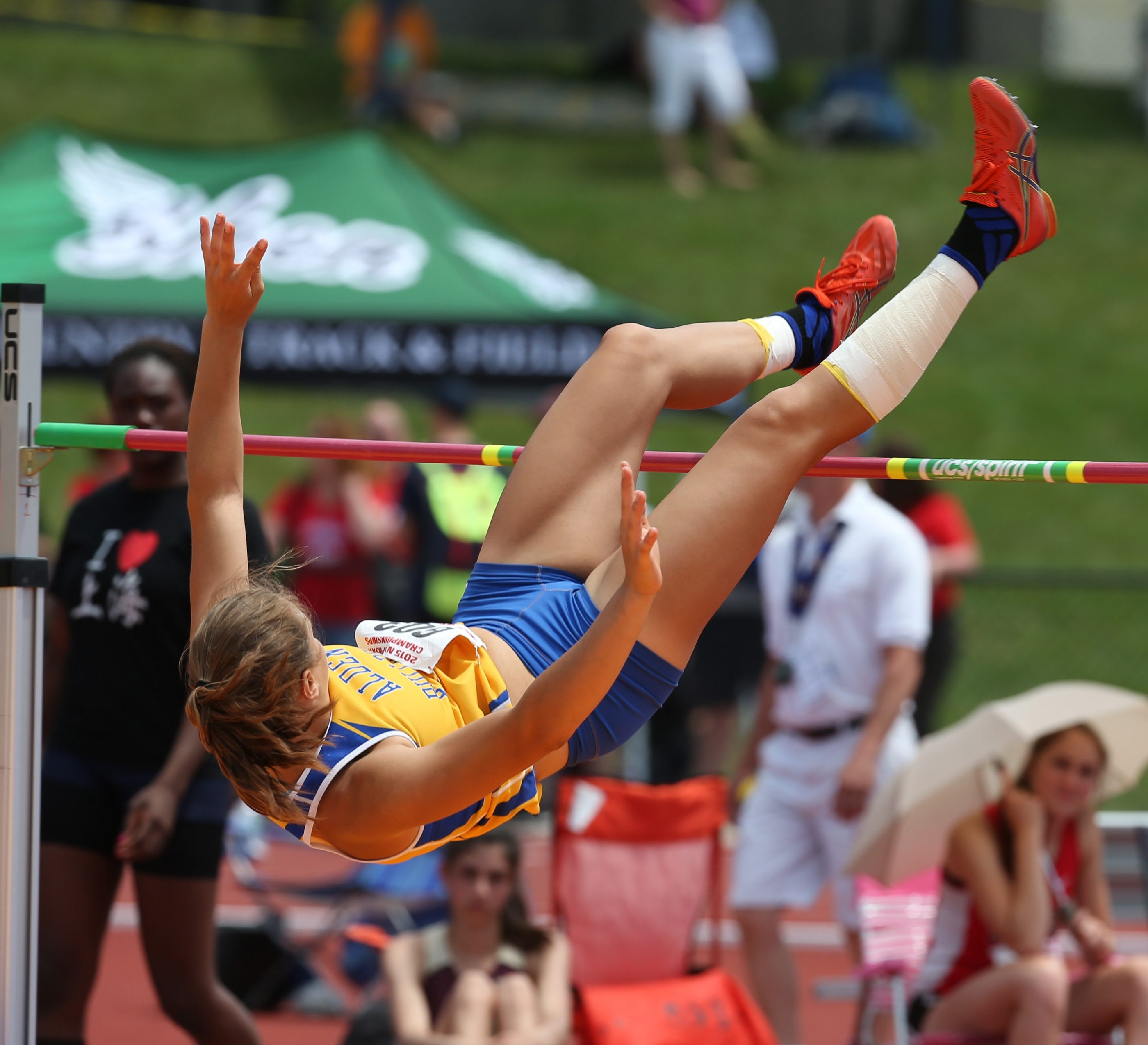 Hailey Rospierski of Alden competes in the high jump at the state championships in Albany last June.