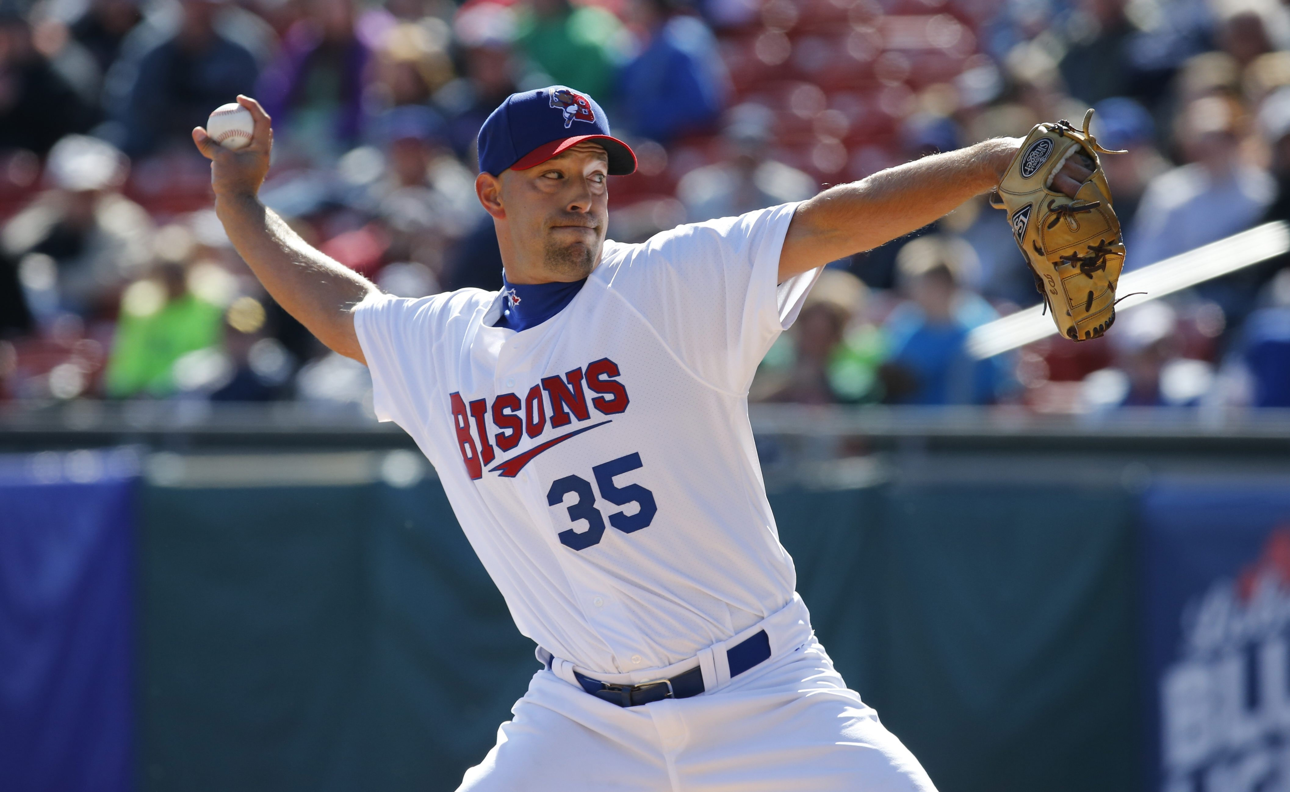 Buffalo Bisons relief pitcher David Aardsma throws in the 9th inning against the Rochester Red Wings at Coca-Cola Field on Thursday, April 14, 2016. (Harry Scull Jr./Buffalo News)