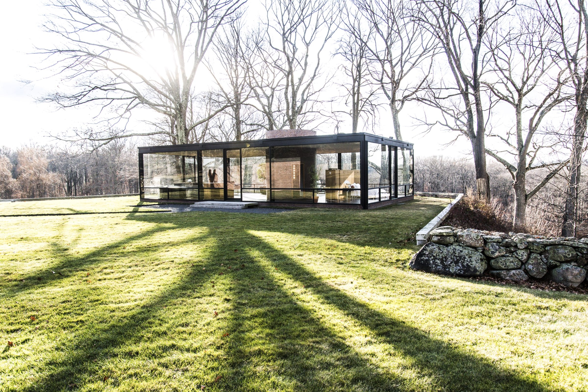 Philip Johnson's Glass House in New Canaan, Conn., Dec. 7, 2013. The house that cemented Johnson's reputation and is considered a modernist classic was open for an overnight stay for $30,000 in the Fantasy Gifts section of the annual Neiman Marcus Christmas Book. (Randy Harris/The New York Times)