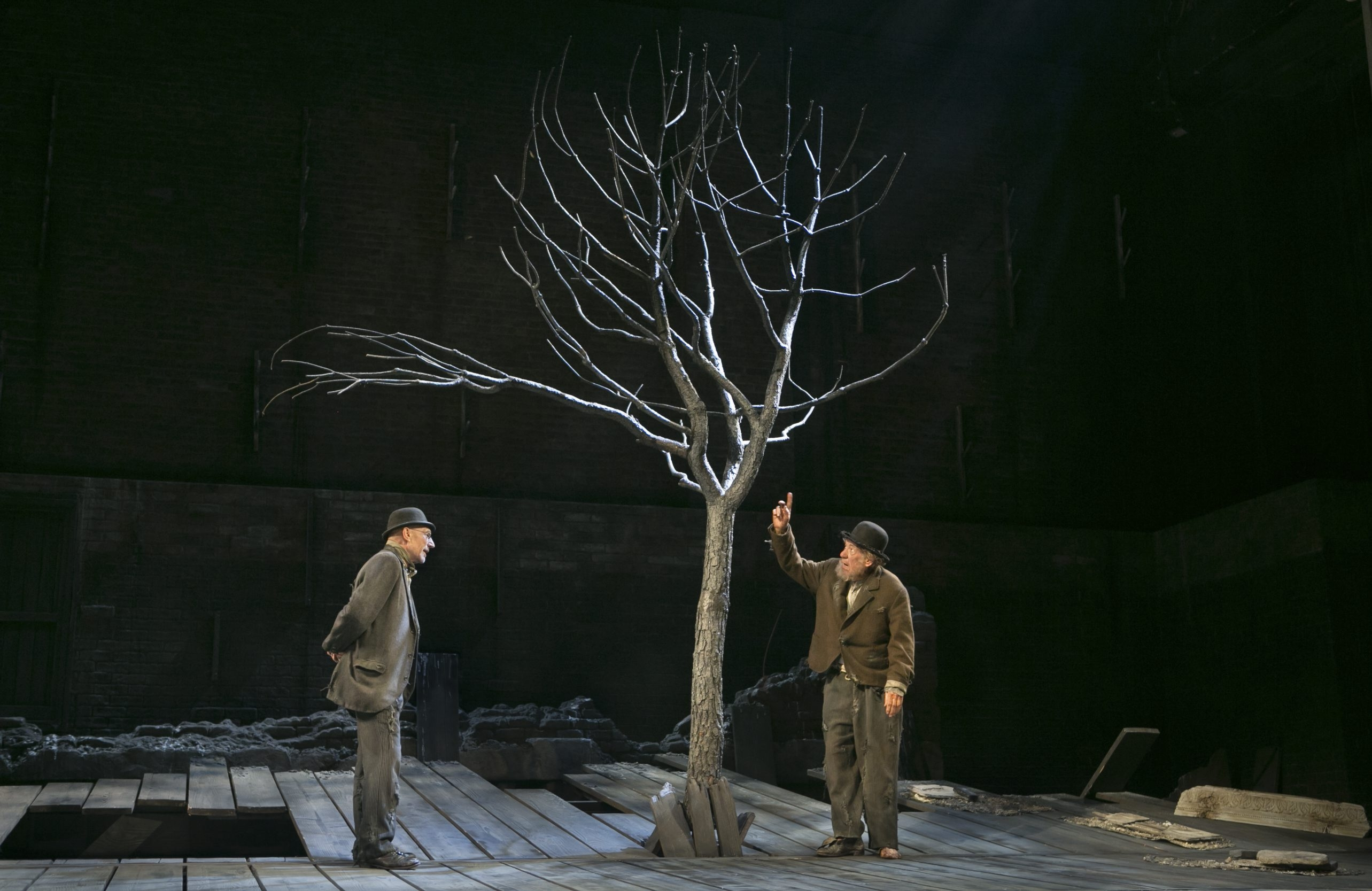 """Patrick Stewart, left, and Ian McKellen in Samuel Beckett's """"Waiting For Godot"""" at the Cort Theater in New York in 2013.  Note the stage setting, """"A Country Road, A Tree."""" A new novel by Jo Baker probes the Nobel Prize winner's early days in Paris as part of the resistance during the Nazi occupation."""