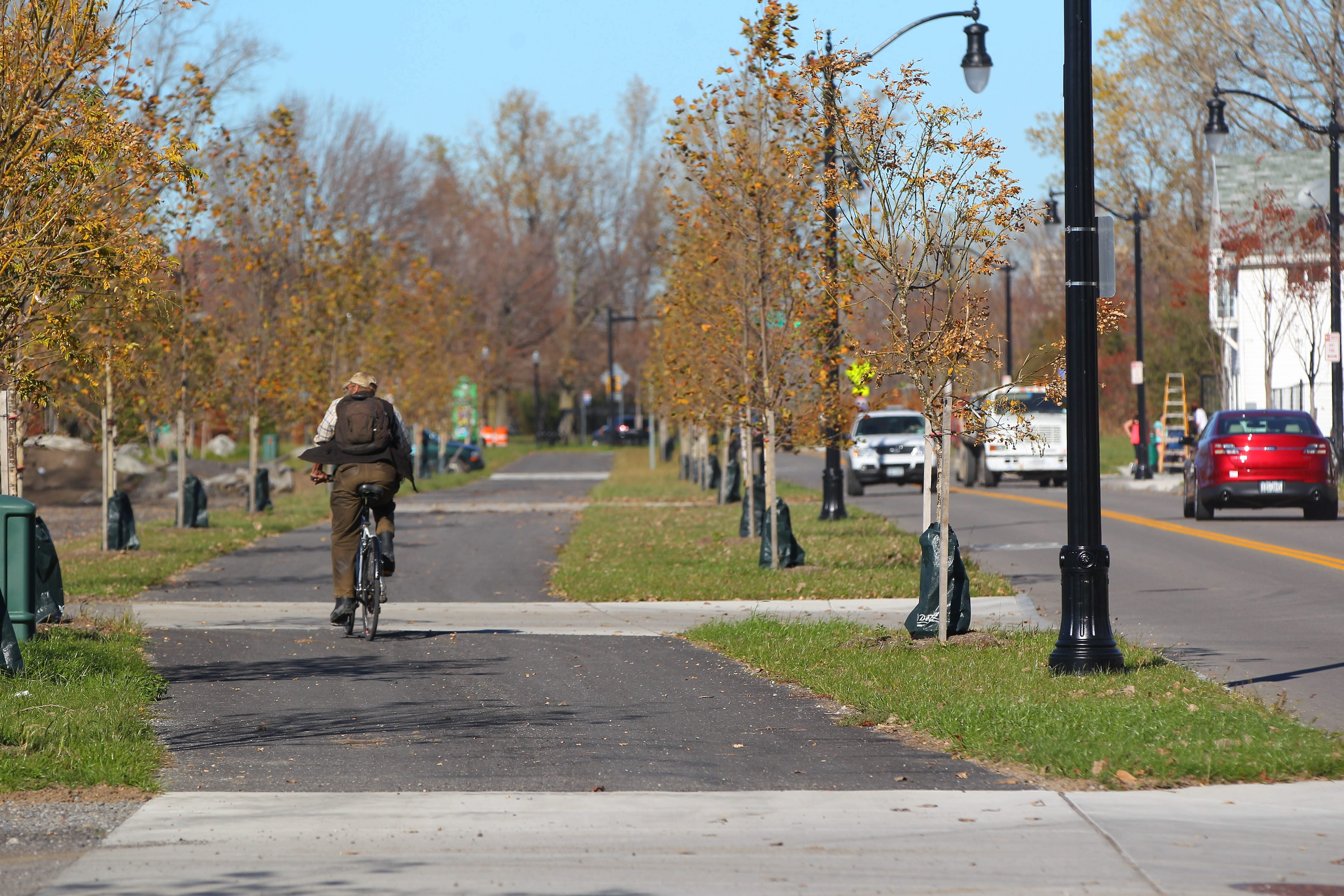 Narrowing Ohio Street to two lanes made room for a bike and pedestrian path and plenty of green space.