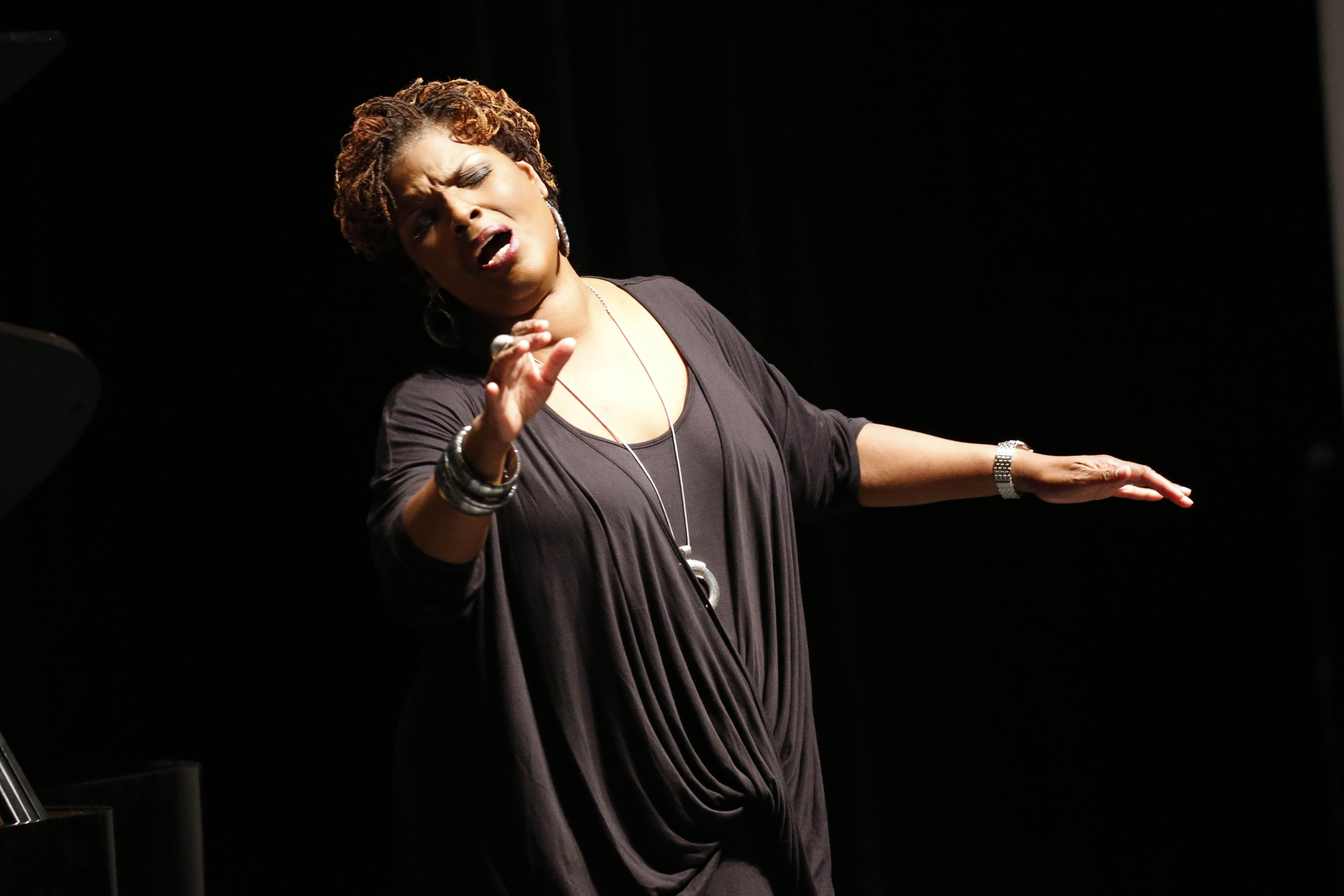 """Internationally acclaimed opera soprano Angela Brown performs during a """"Success Looks Like Me"""" role model event at Buffalo Academy of Visual and Performing Arts, Thursday, May 12, 2016.  (Derek Gee/Buffalo News)"""